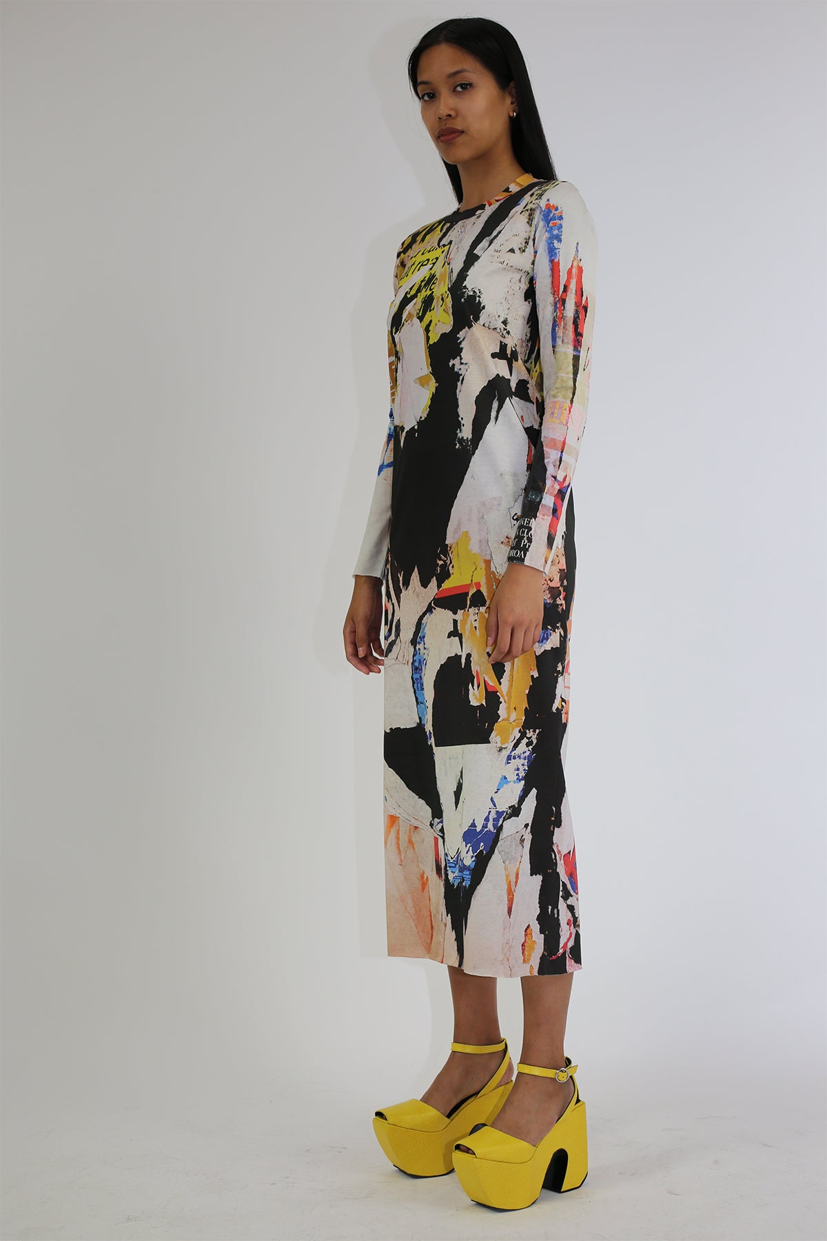 PRE-OWNED / POSTER PRINT LONG DRESS - marques-almeida-dev