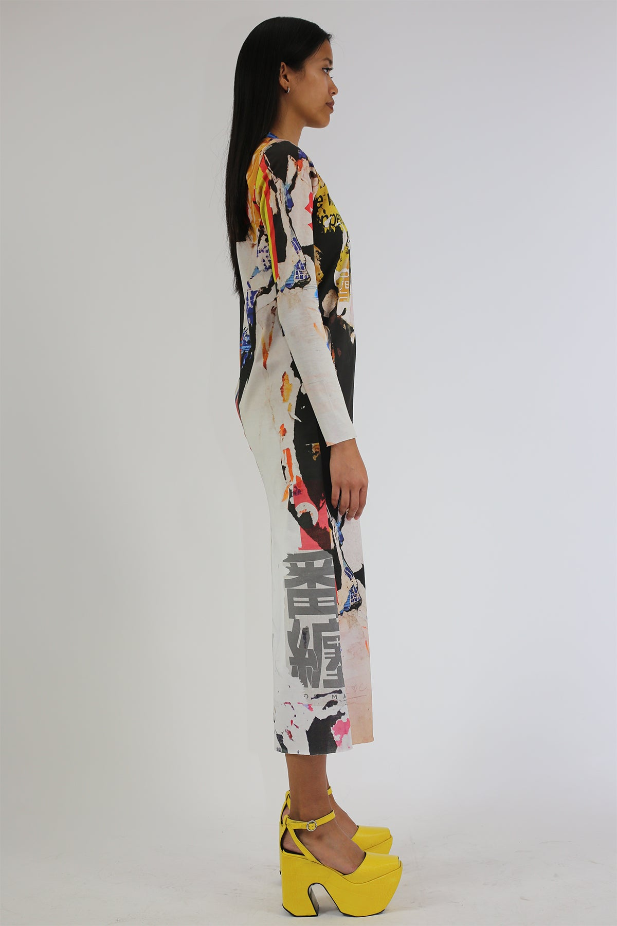 PRE-OWNED / POSTER PRINT LONG DRESS