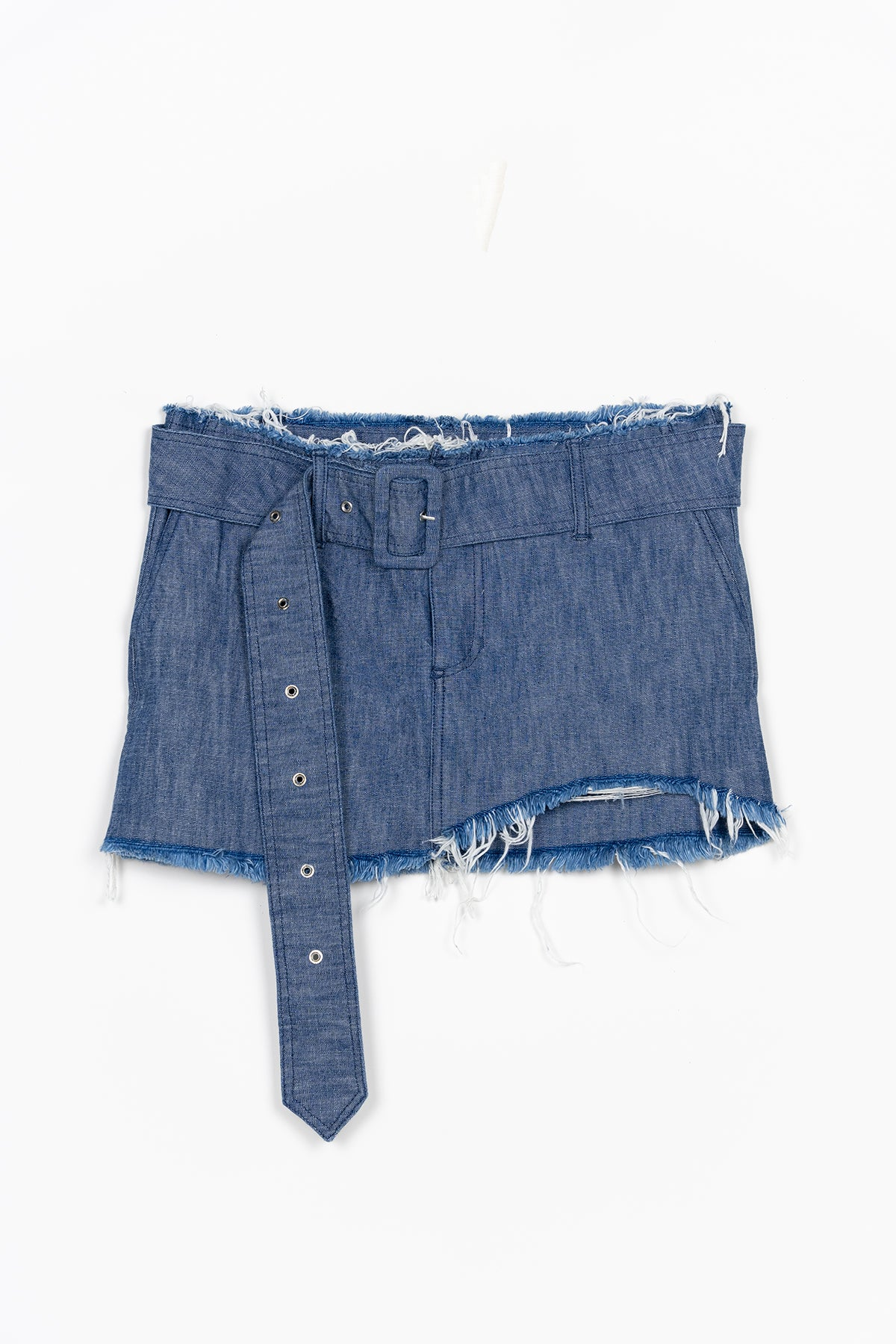 DENIM MINI SKIRT W/ BUCKLE