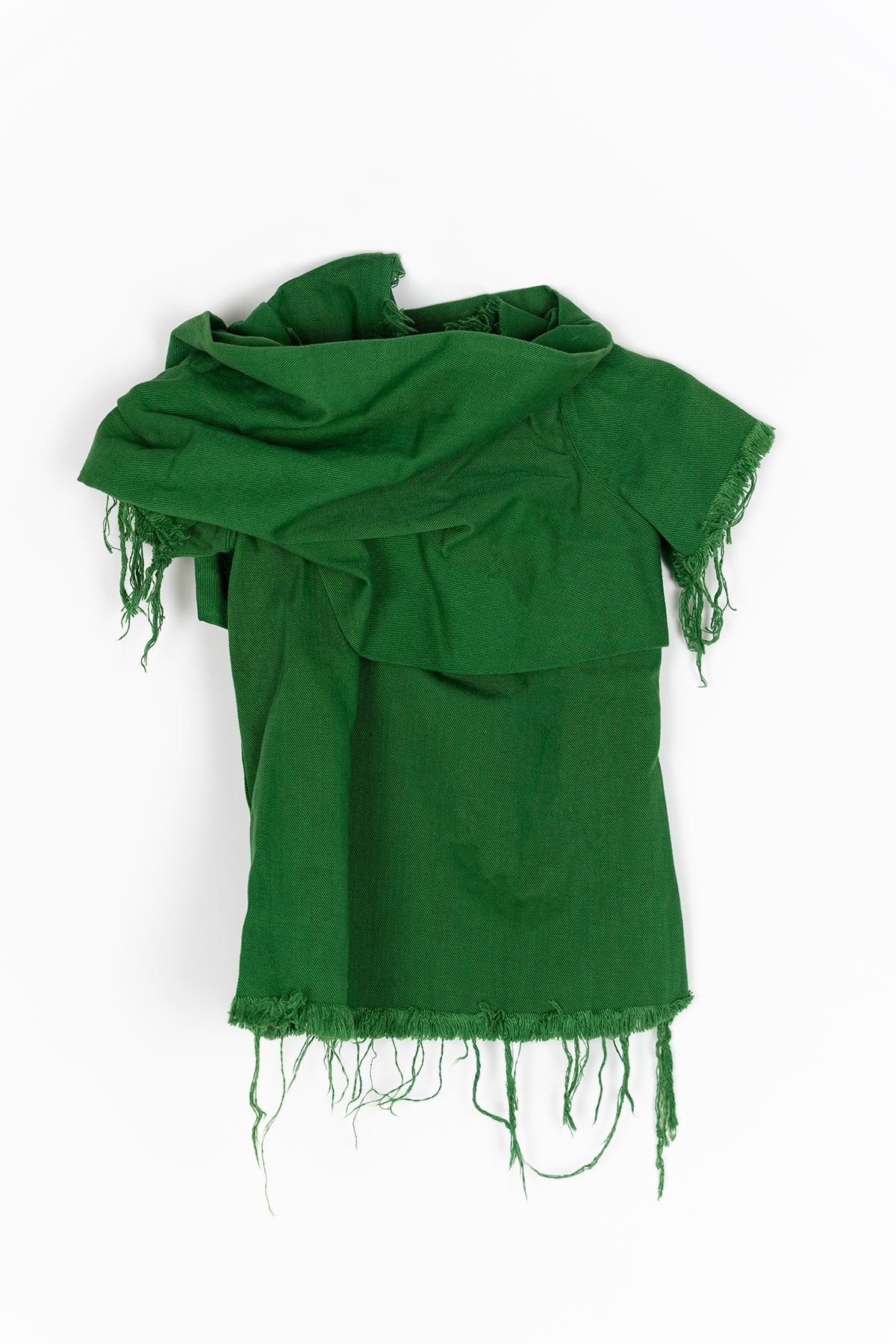 GREEN DRAPED NECK CAP SLEEVE TOP