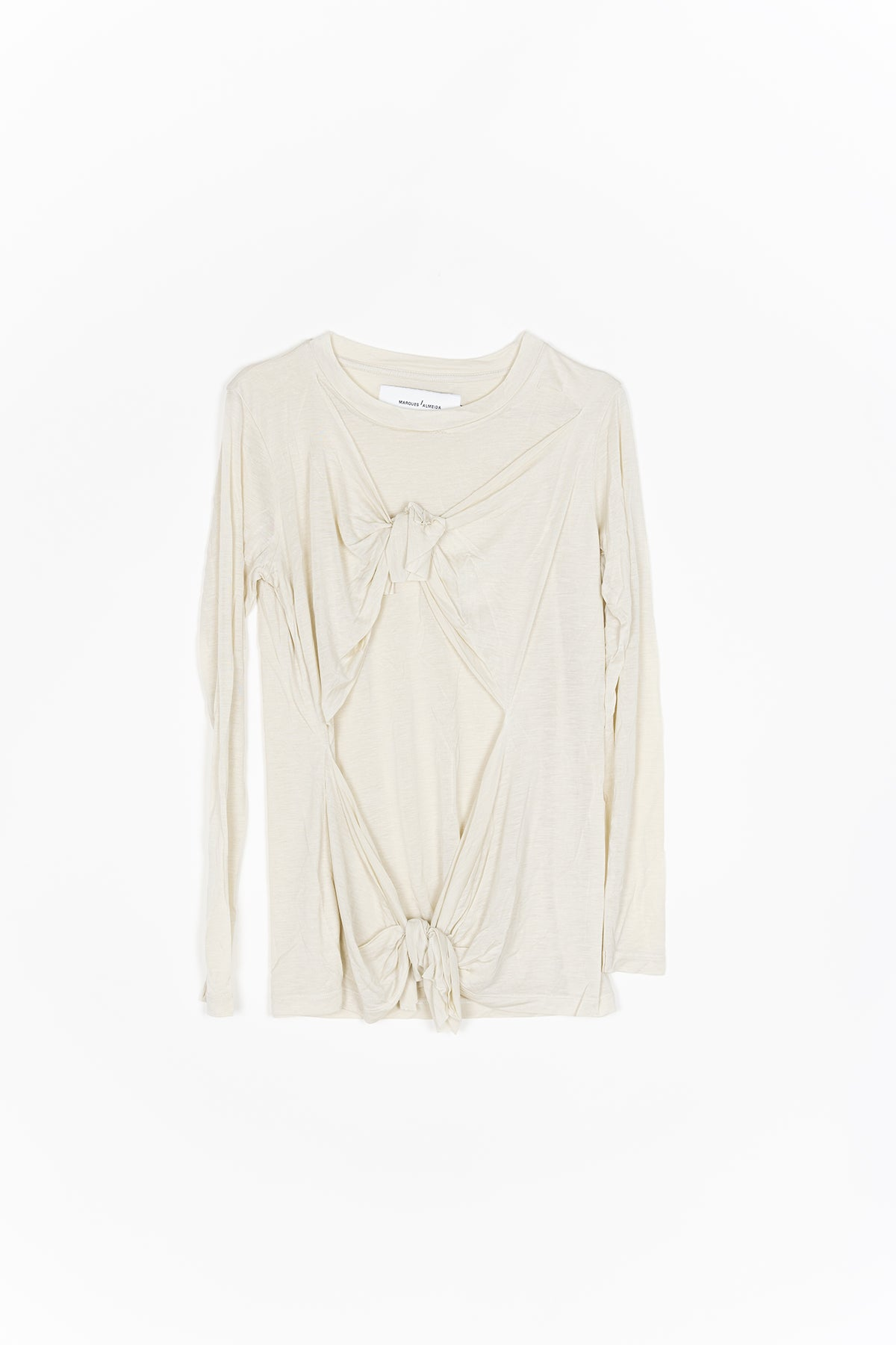 marques almeida BEIGE DOUBLE KNOT LONG SLEEVE T-SHIRT