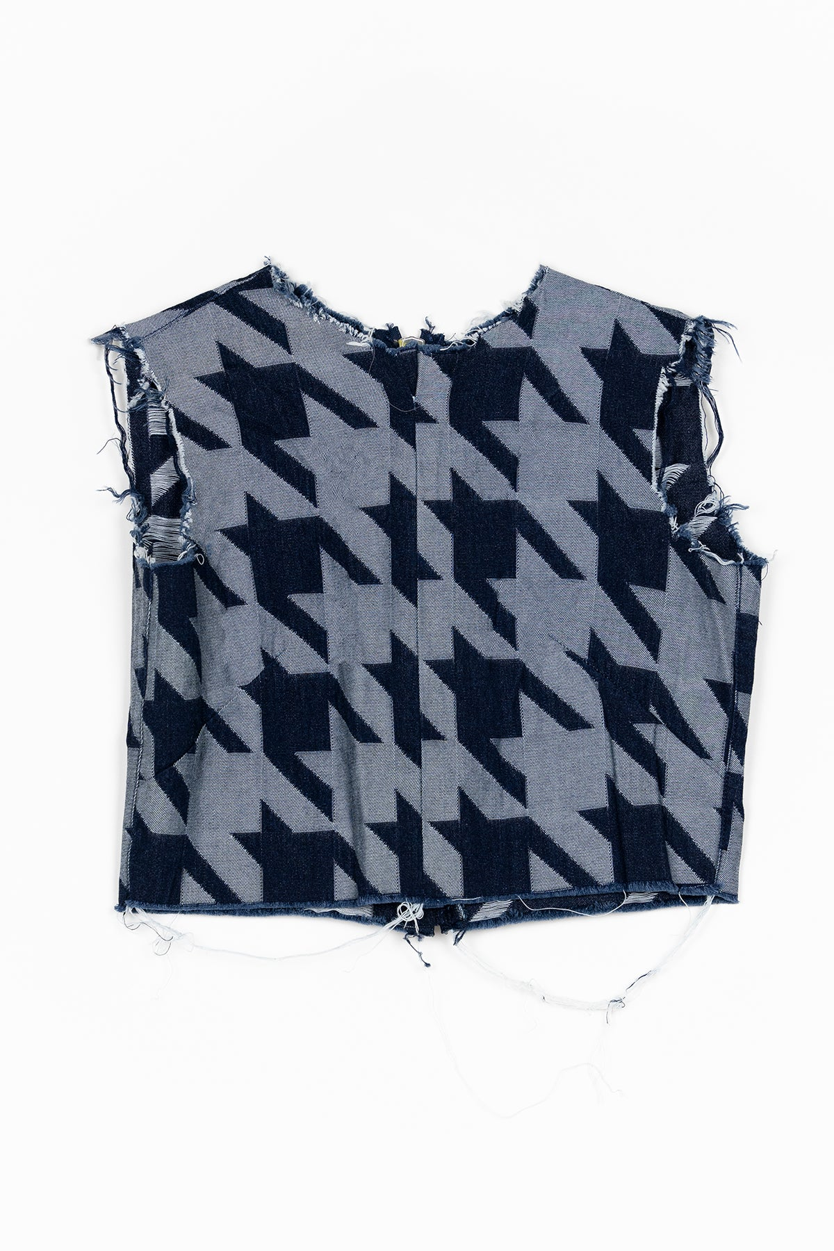 marques almeida HOUNDSTOOTH DENIM OPEN BACK TOP
