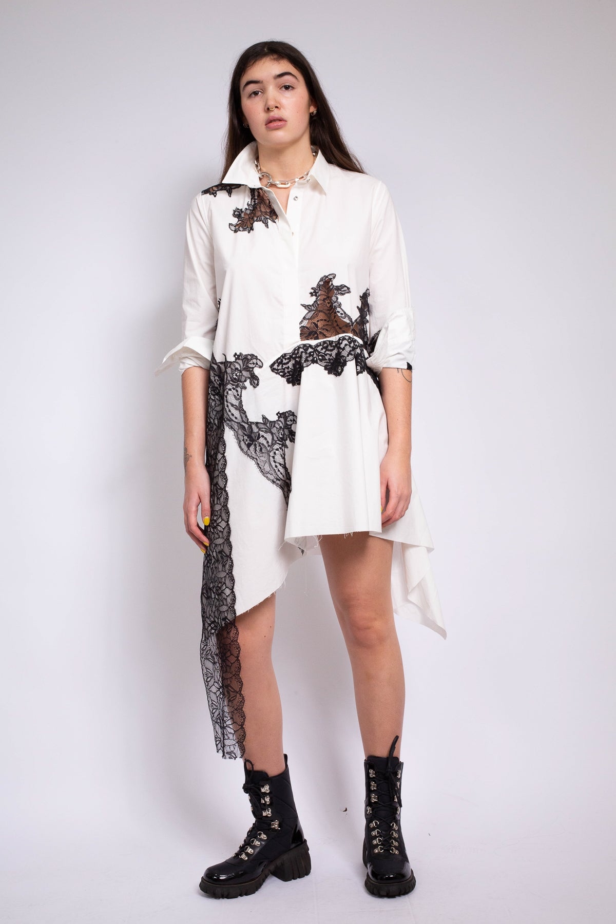 LACE INSERT ASYMMETRIC SHIRT DRESS IN WHITE - marques-almeida-dev
