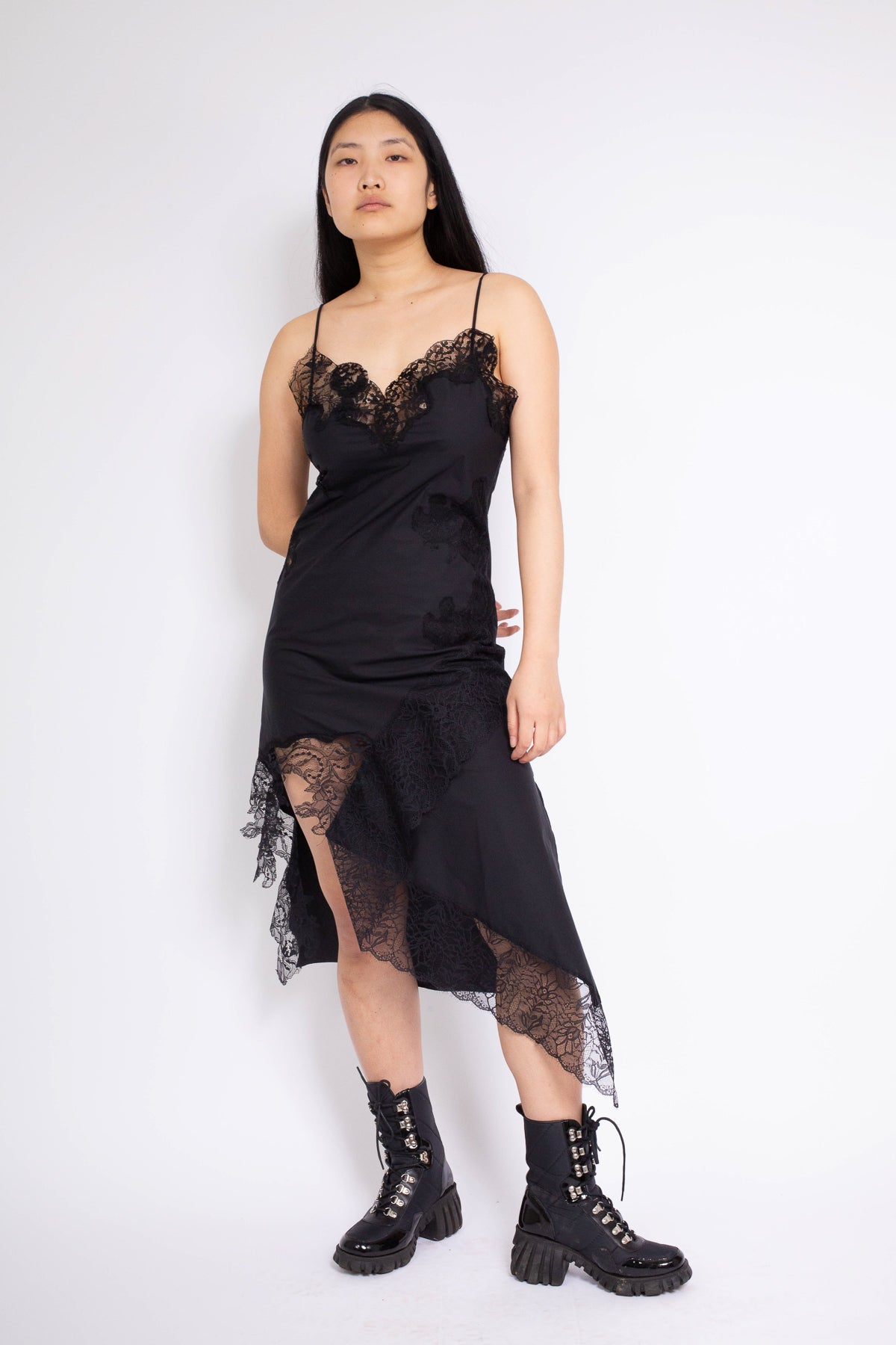 LACE INSERT SLIP DRESS IN BLACK - marques-almeida-dev