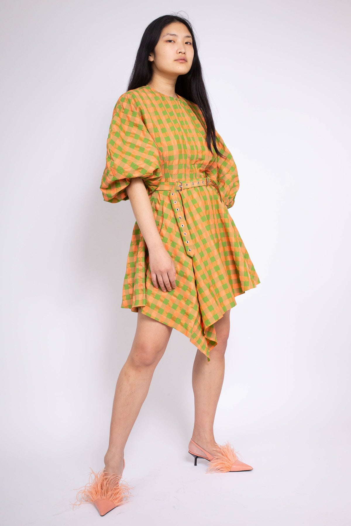 BALLOON SLEEVE AYSMMETRIC HEM DRESS IN PINK AND GREEN - marques-almeida-dev