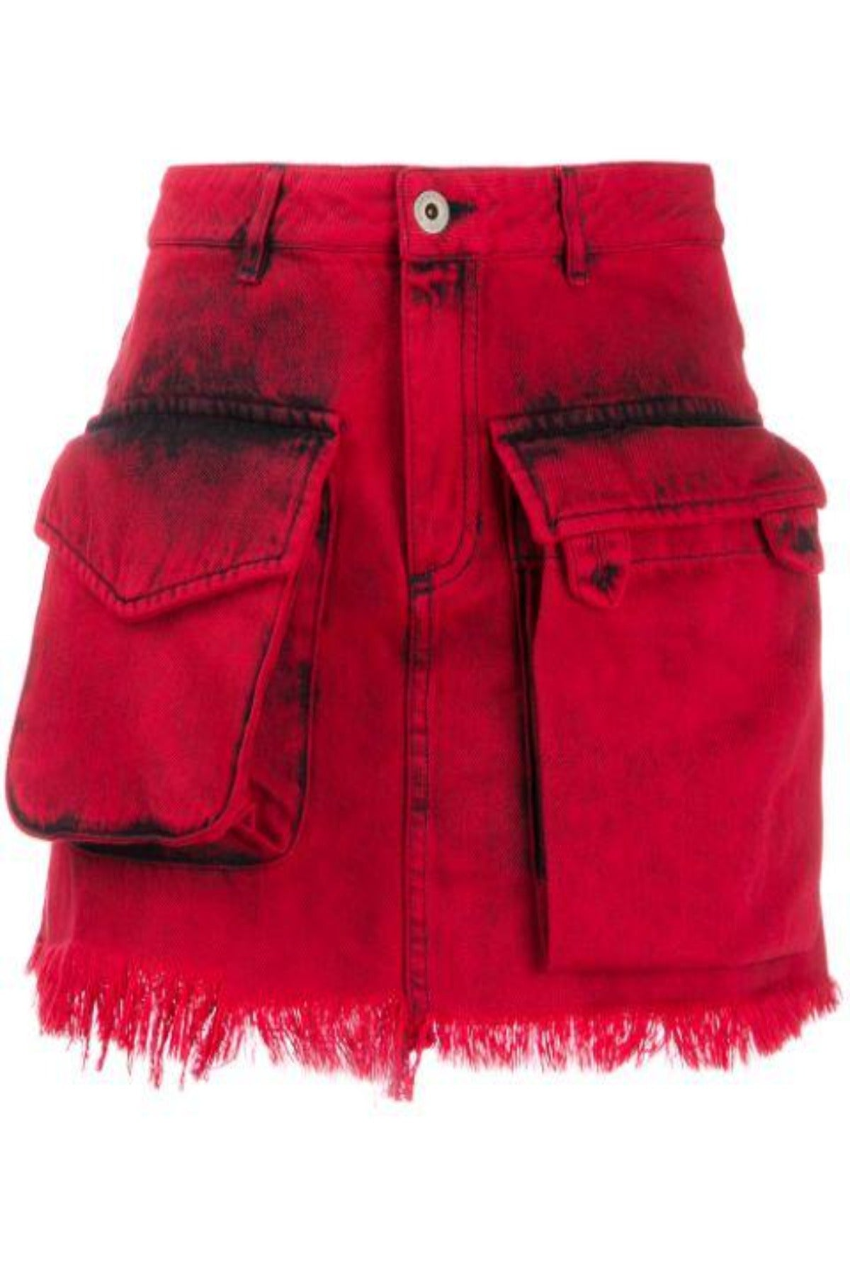 PATCH POCKET MINI SKIRT IN RED