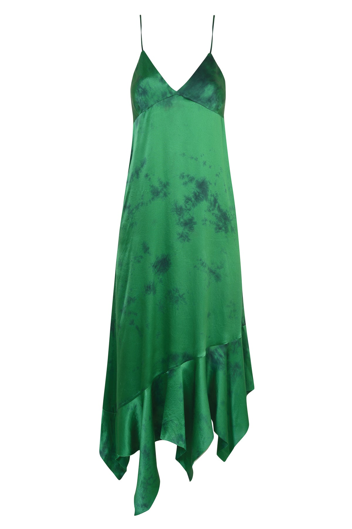 SILK GREEN TIE DYE DRESS