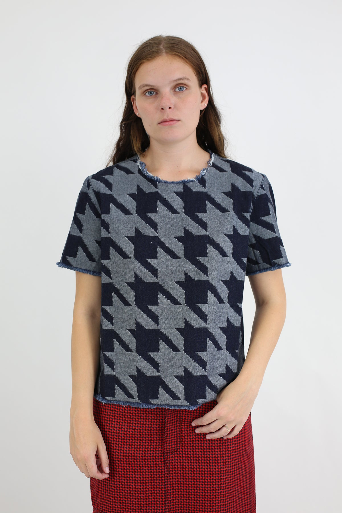 PRE-OWNED / DENIM HOUNDSTOOTH CAP SLEEVE