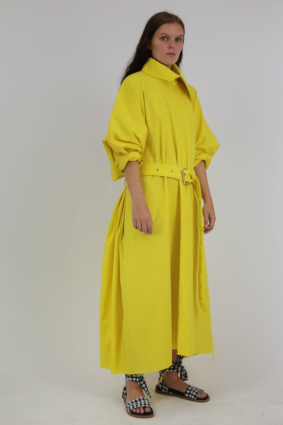 YELLOW COTTON RECTANGLE TUNIC DRESS