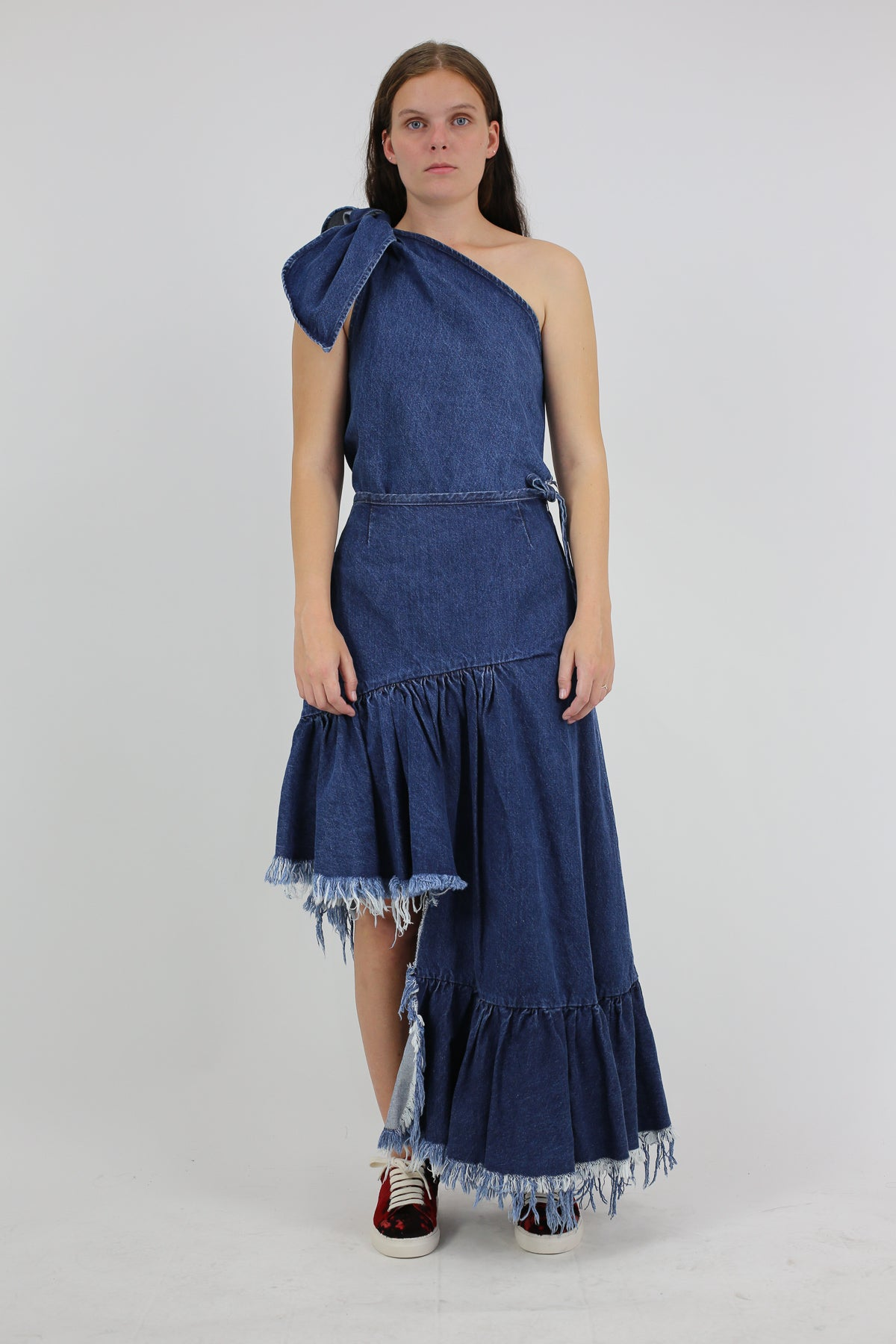 PRE-OWNED / BLUE ASYMMETRIC FRILL SKIRT - marques-almeida-dev