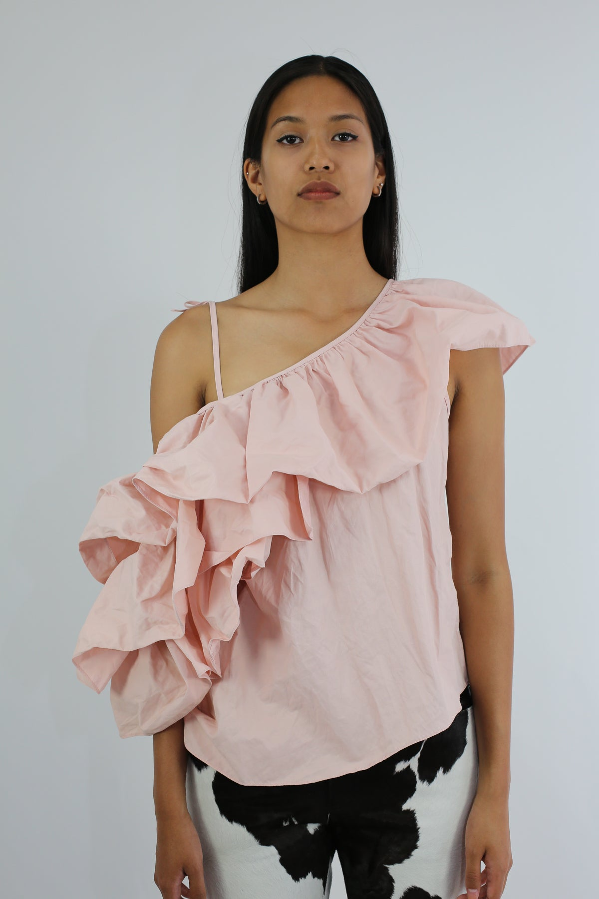 PRE-OWNED / PALE PINK ONE SHOULDER RUFFLE TOP - marques-almeida-dev