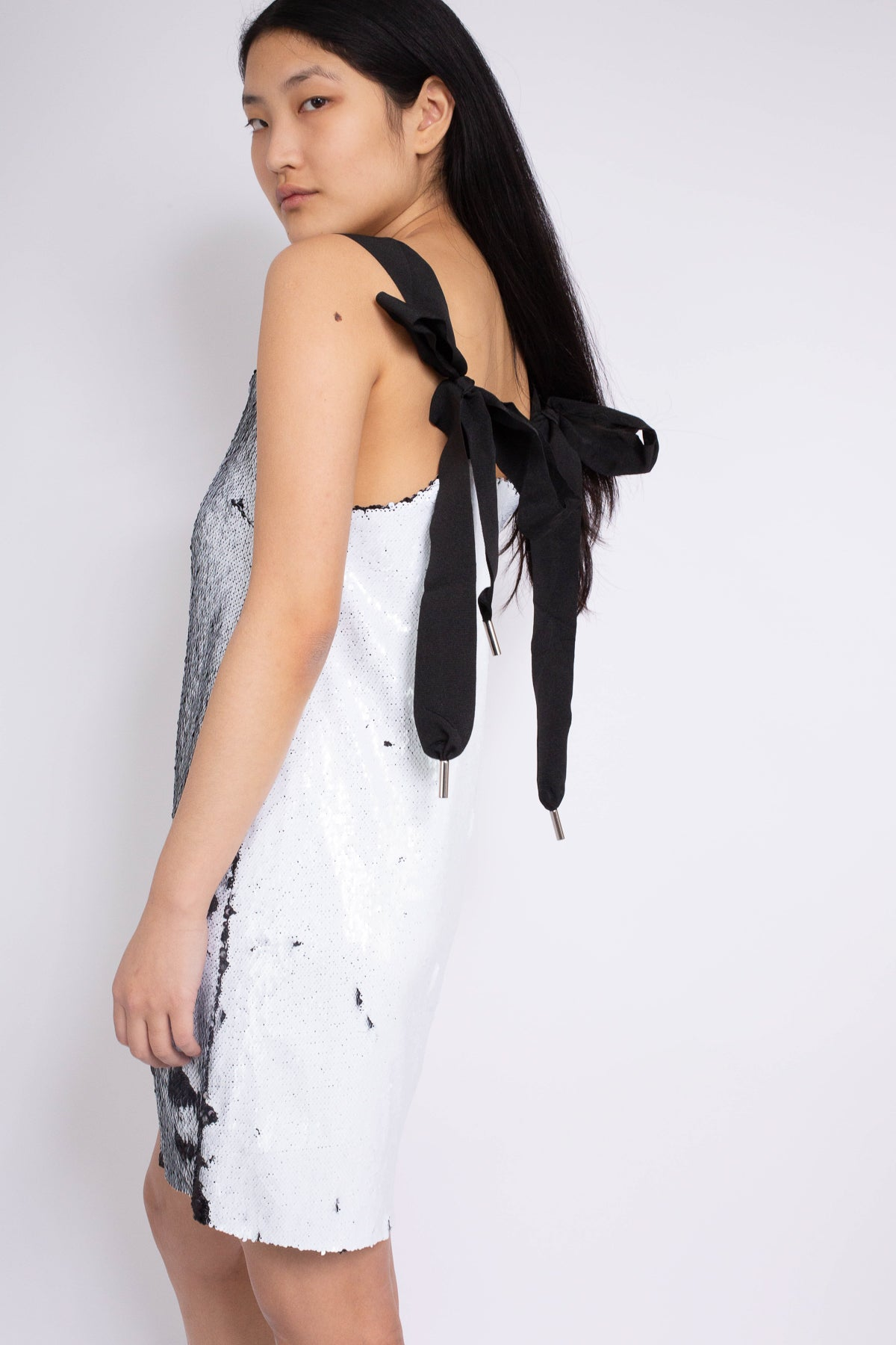 PRE-OWNED / BLACK AND WHITE SEQUIN SLIP DRESS