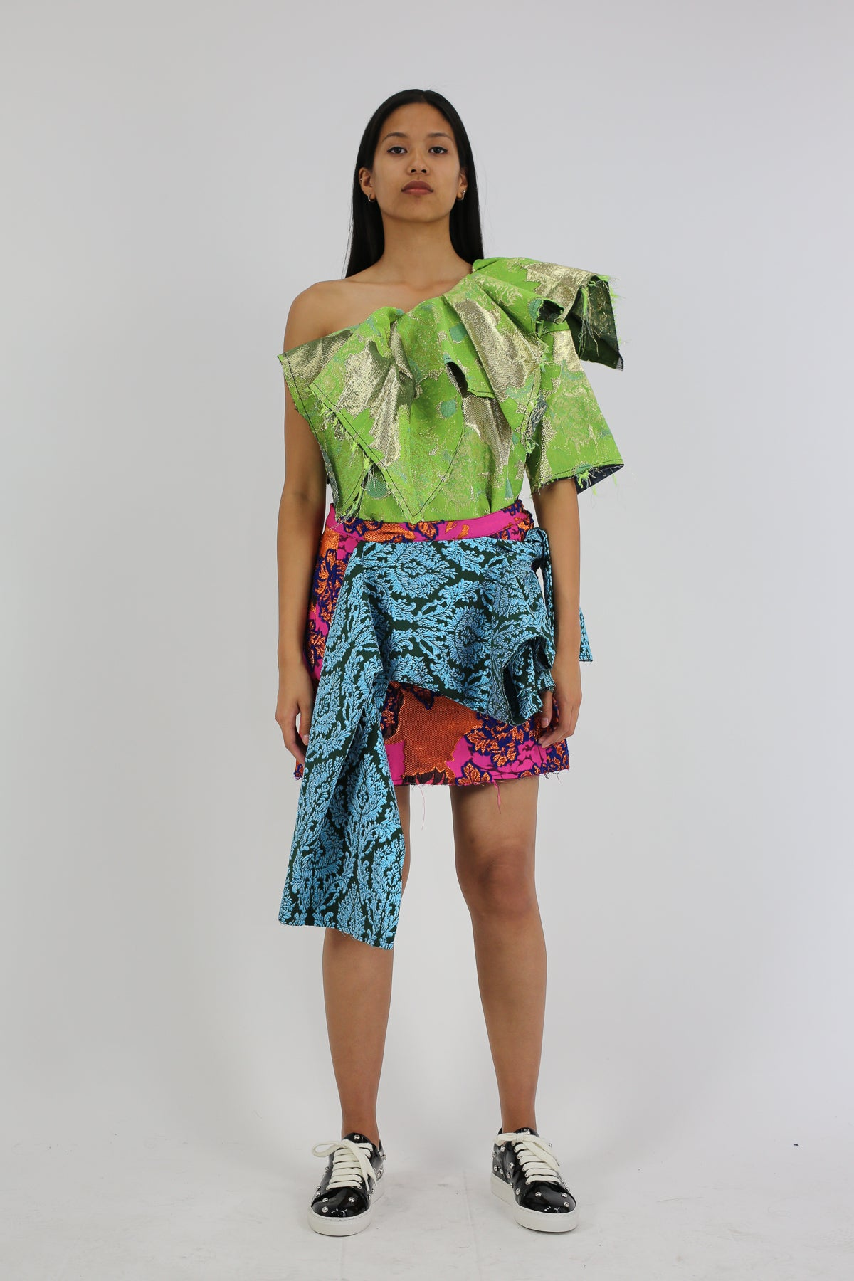 PRE-OWNED / DRAPED PATCHWORK BROCADE SKIRT - marques-almeida-dev