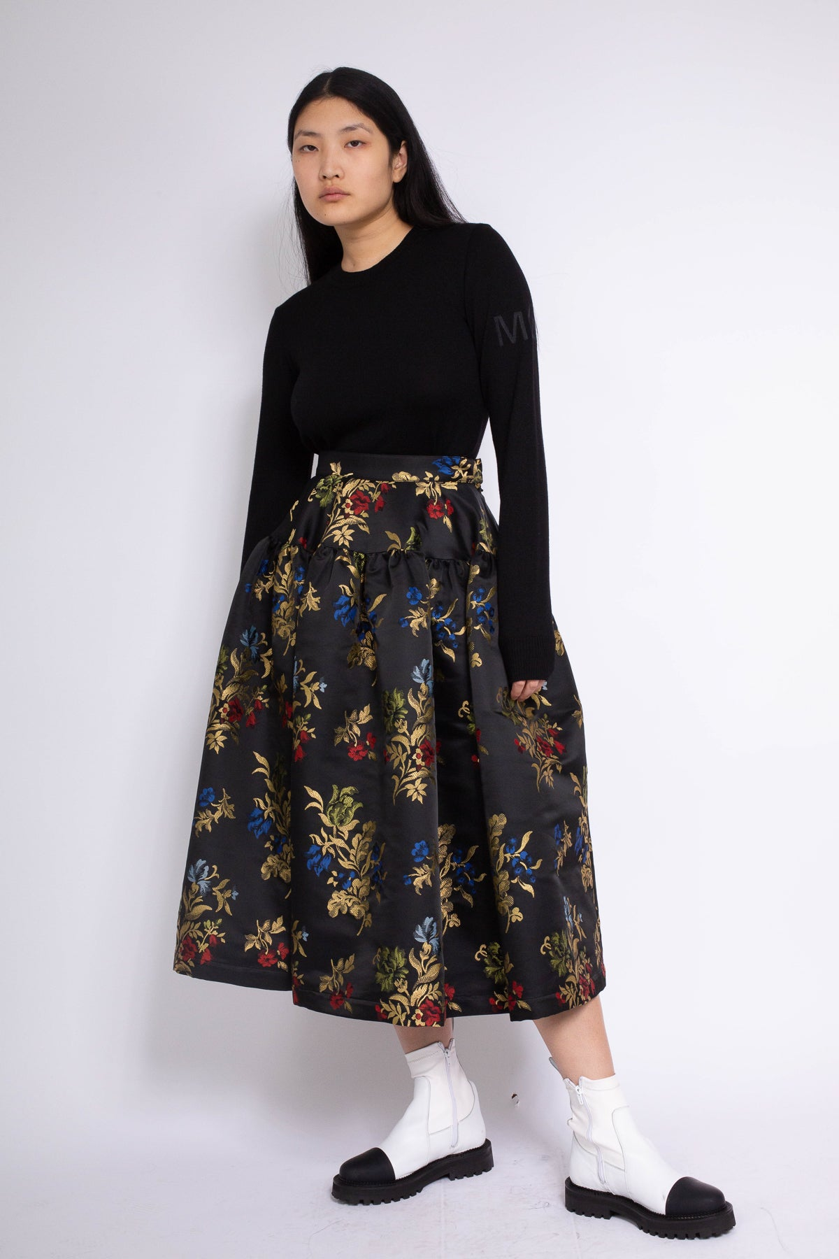PRE-OWNED / GATHERED YOKE SKIRT IN BLACK FLORAL BROCADE - marques-almeida-dev