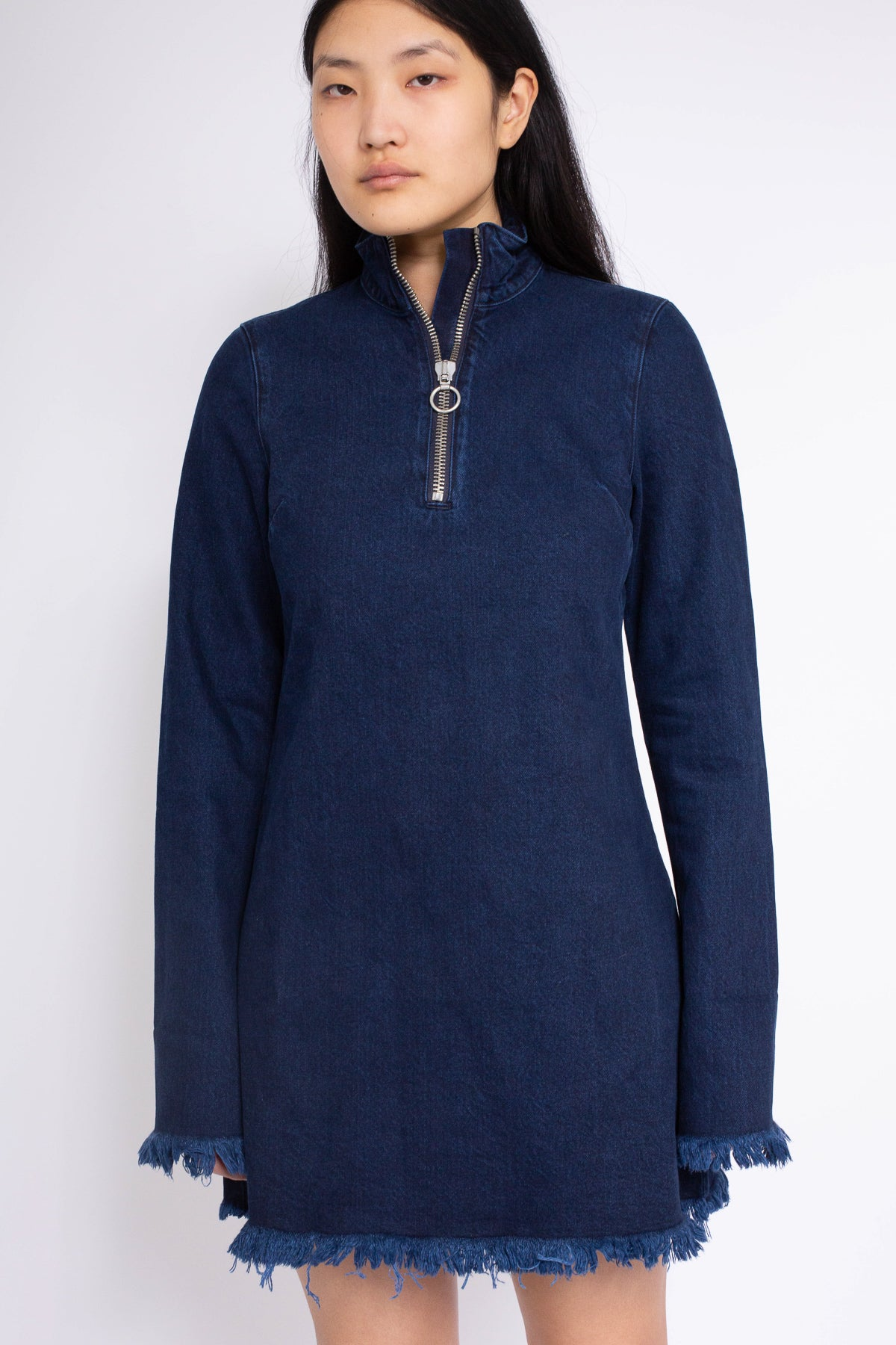 PRE-OWNED / HIGH NECK DENIM MINI DRESS IN INDIGO - marques-almeida-dev