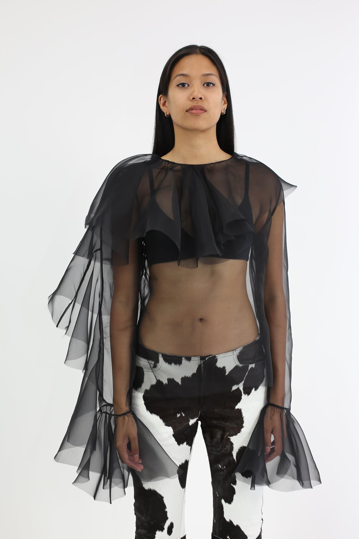 BLACK ORGANZA BLOUSE WITH FRILLS