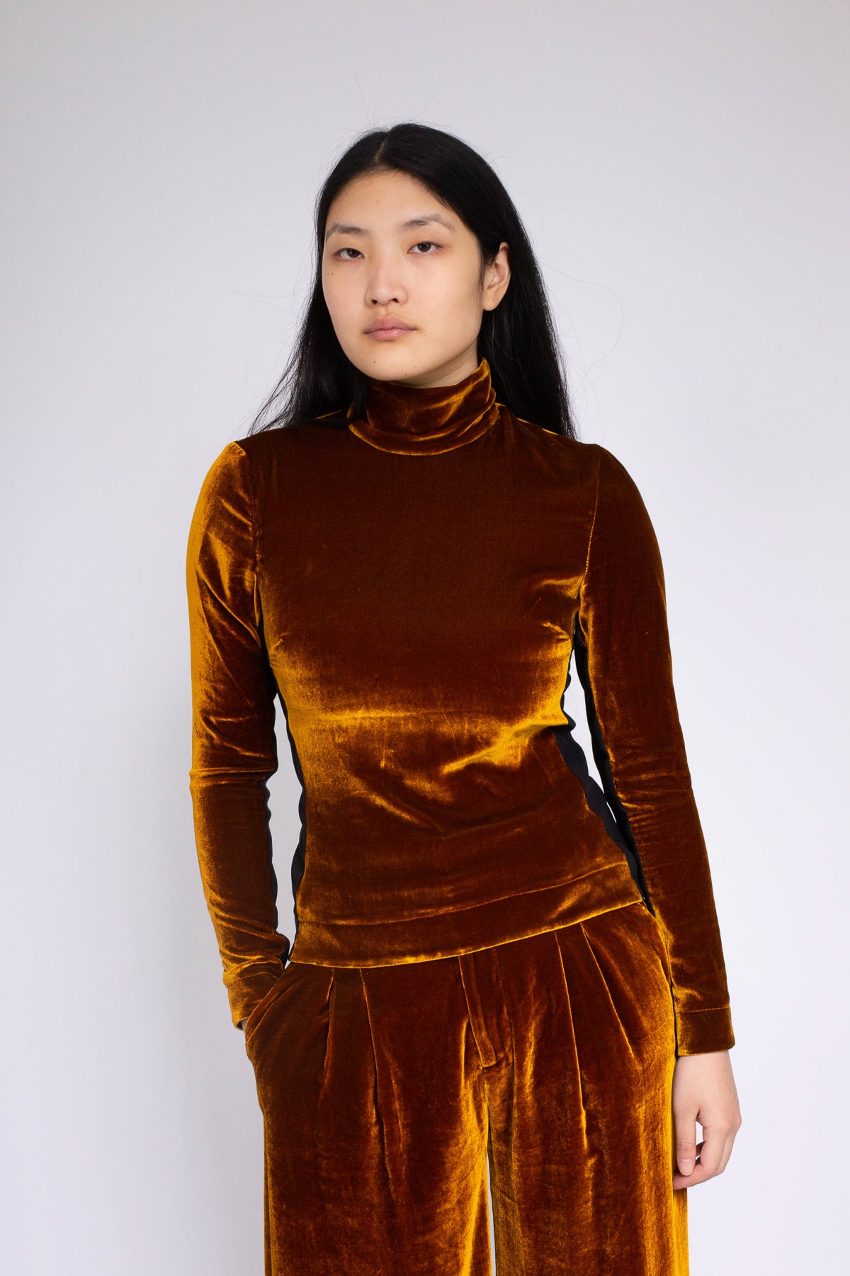 PRE-OWNED / VELVET DARK GOLD TURTLENECK TOP - marques-almeida-dev