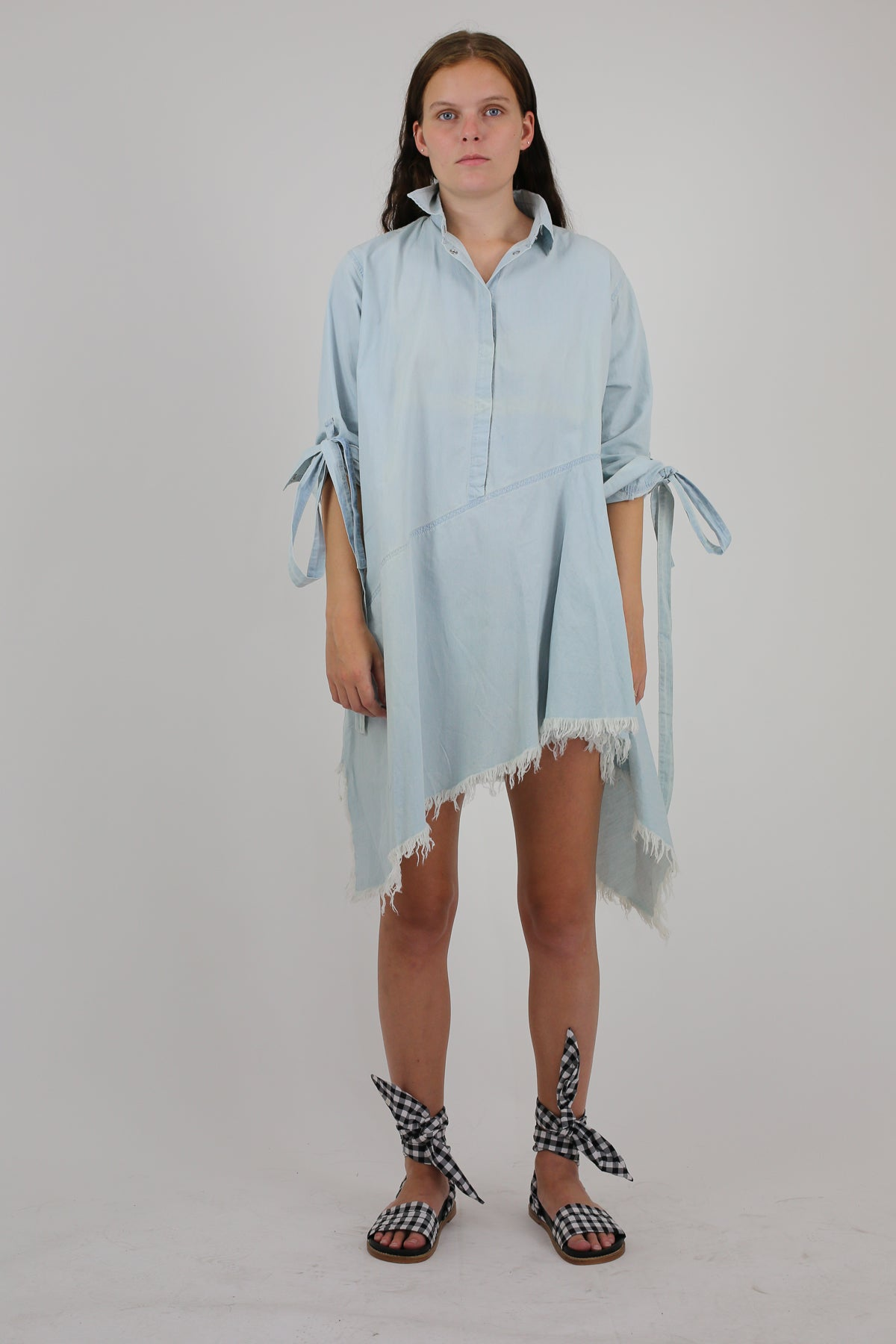 PRE-OWNED / BABY BLUE SHIRT DRESS WITH BACK TIES - marques-almeida-dev