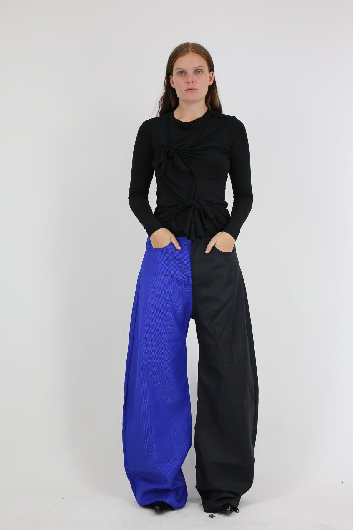 CONSTRASTING LEG BOYFRIEND STYLE DRILL TROUSERS