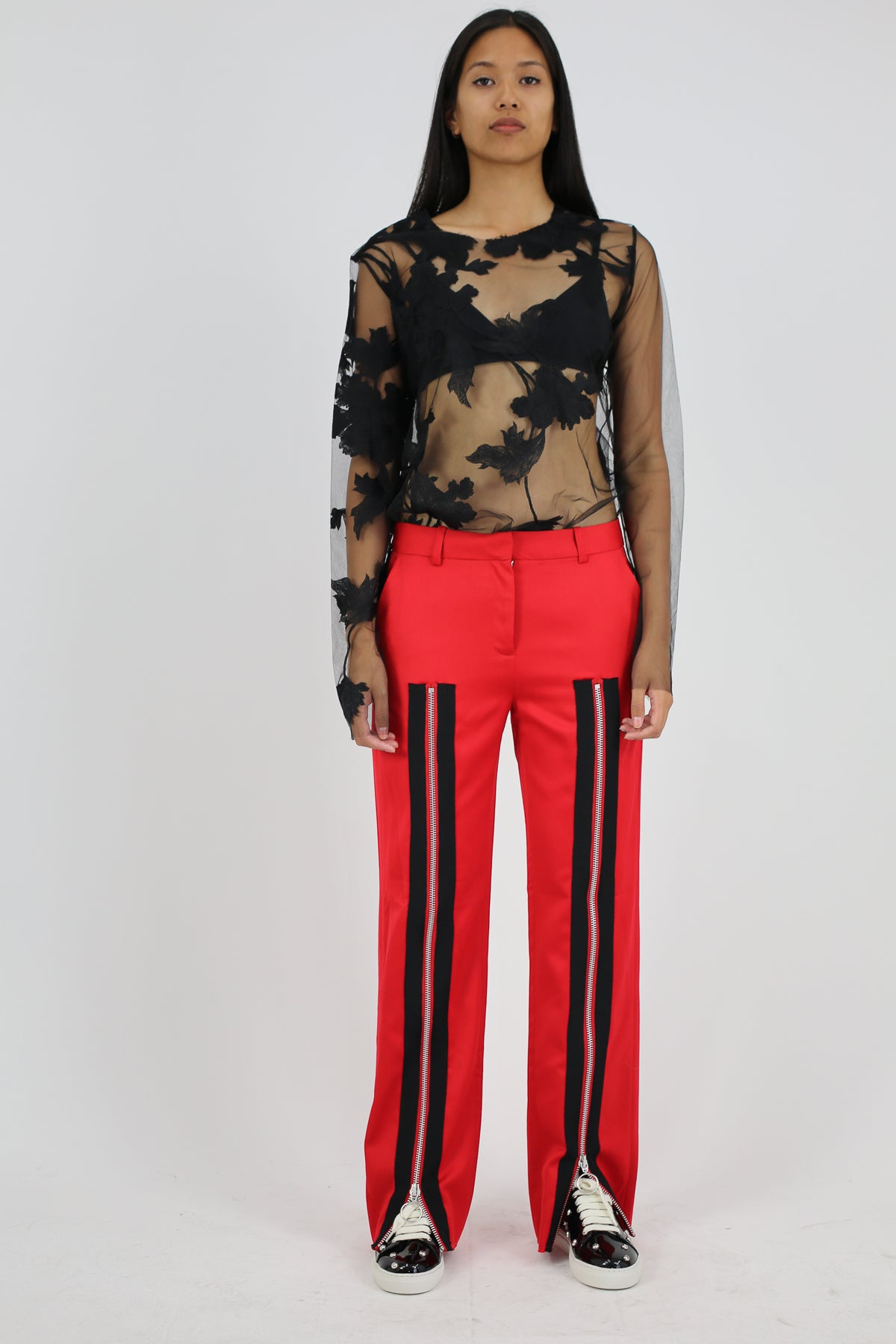 PRE-OWNED / RED ZIP FRONT TAILORED TROUSERS