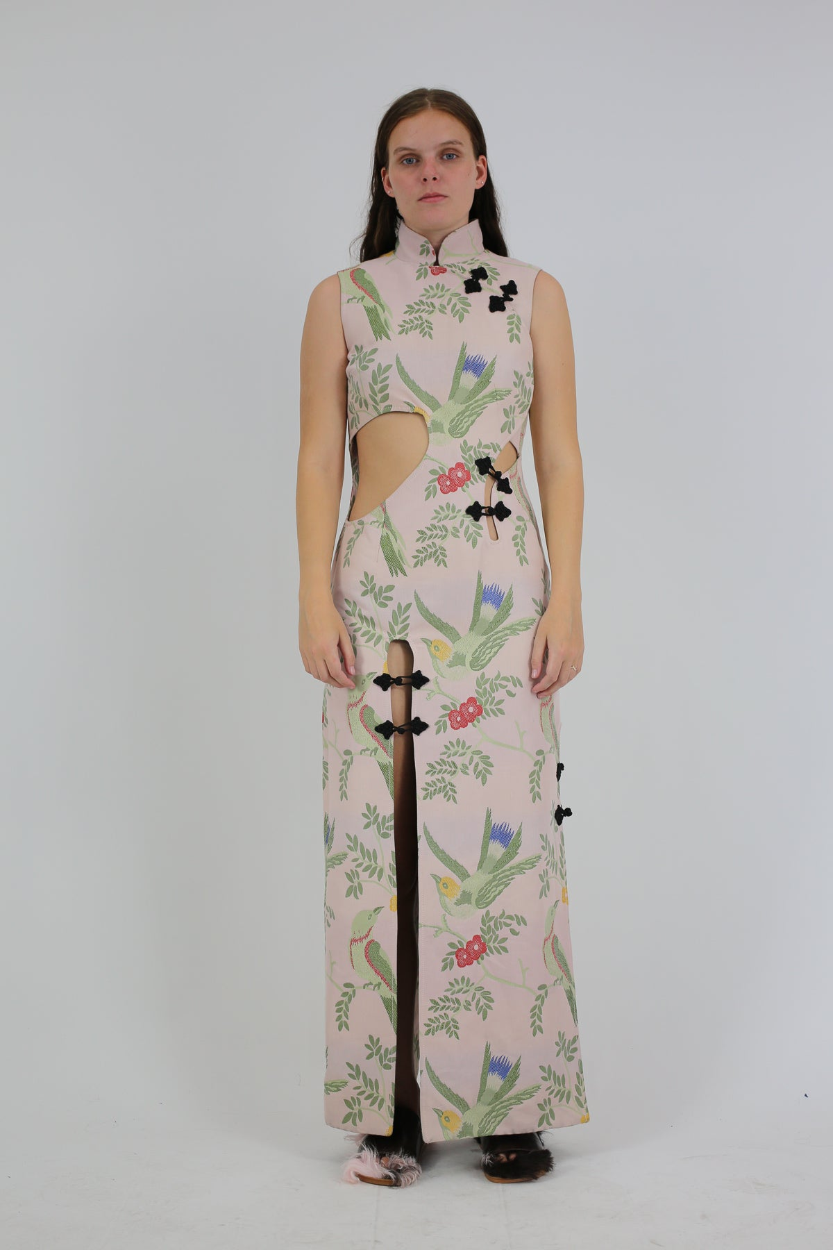 PRE-OWNED / MANDARIN WRAP CUT OUT DRESS IN BIRD PINK BROCADE - marques-almeida-dev