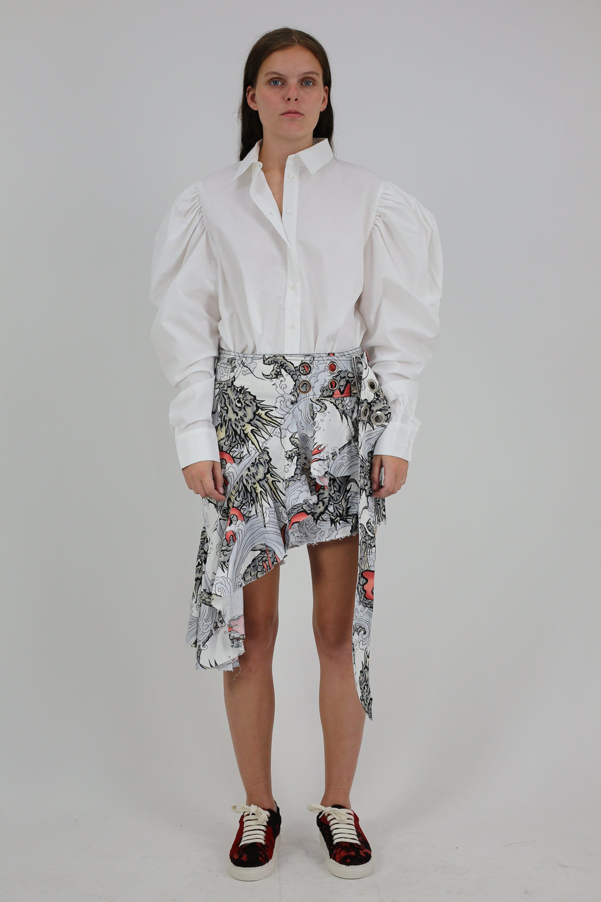 PRE-OWNED / DRAGON PRINT BUCKLE SKIRT