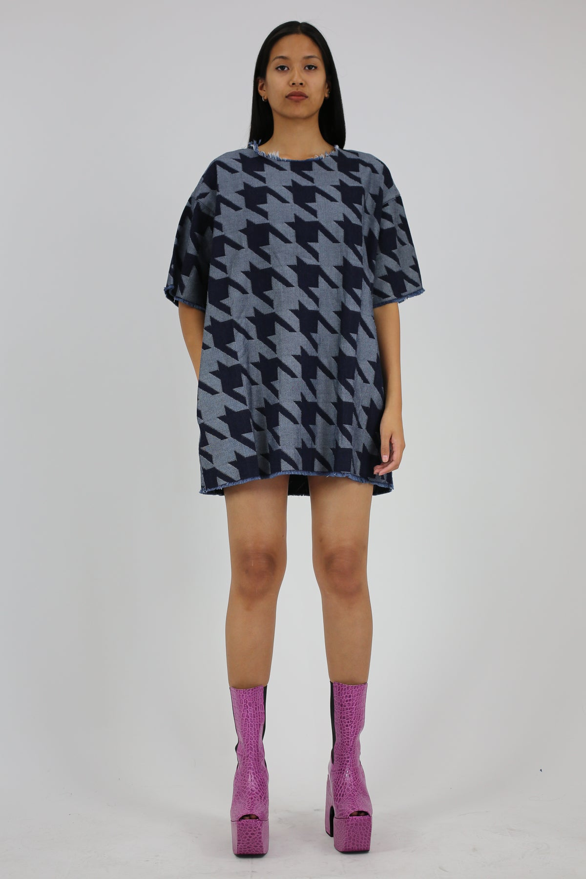 PRE-OWNED / DENIM HOUNDSTOOTH T-SHIRT DRESS - marques-almeida-dev