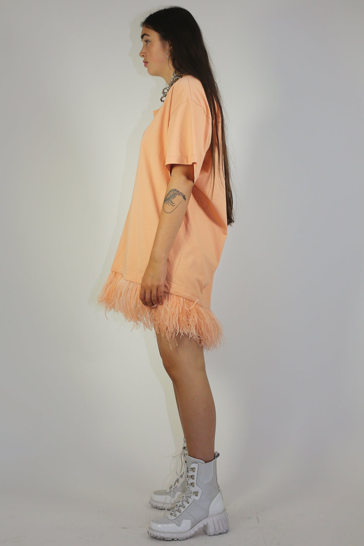 FEATHER HEM TOP IN PINK - marques-almeida-dev