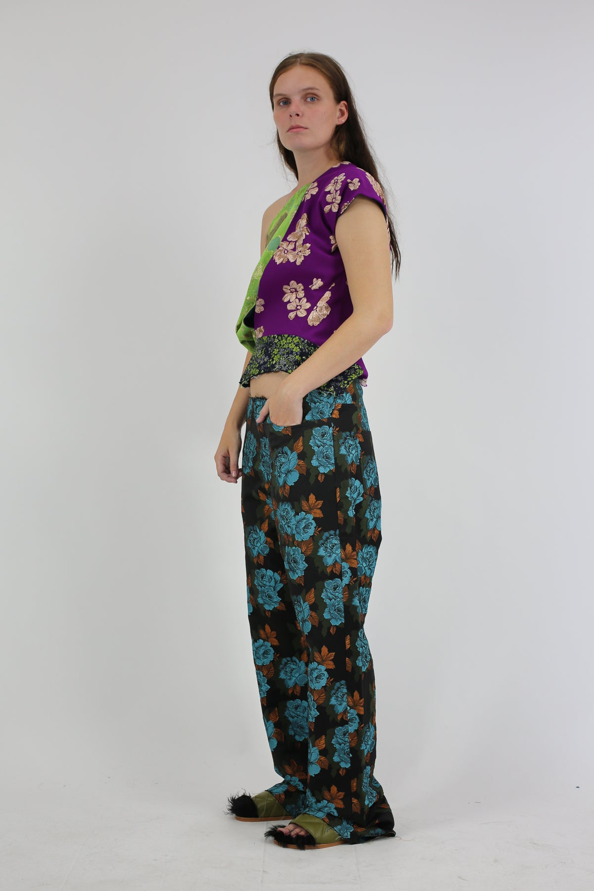 BROCADE BOYFRIEND TROUSERS IN BLACK AND BLUE