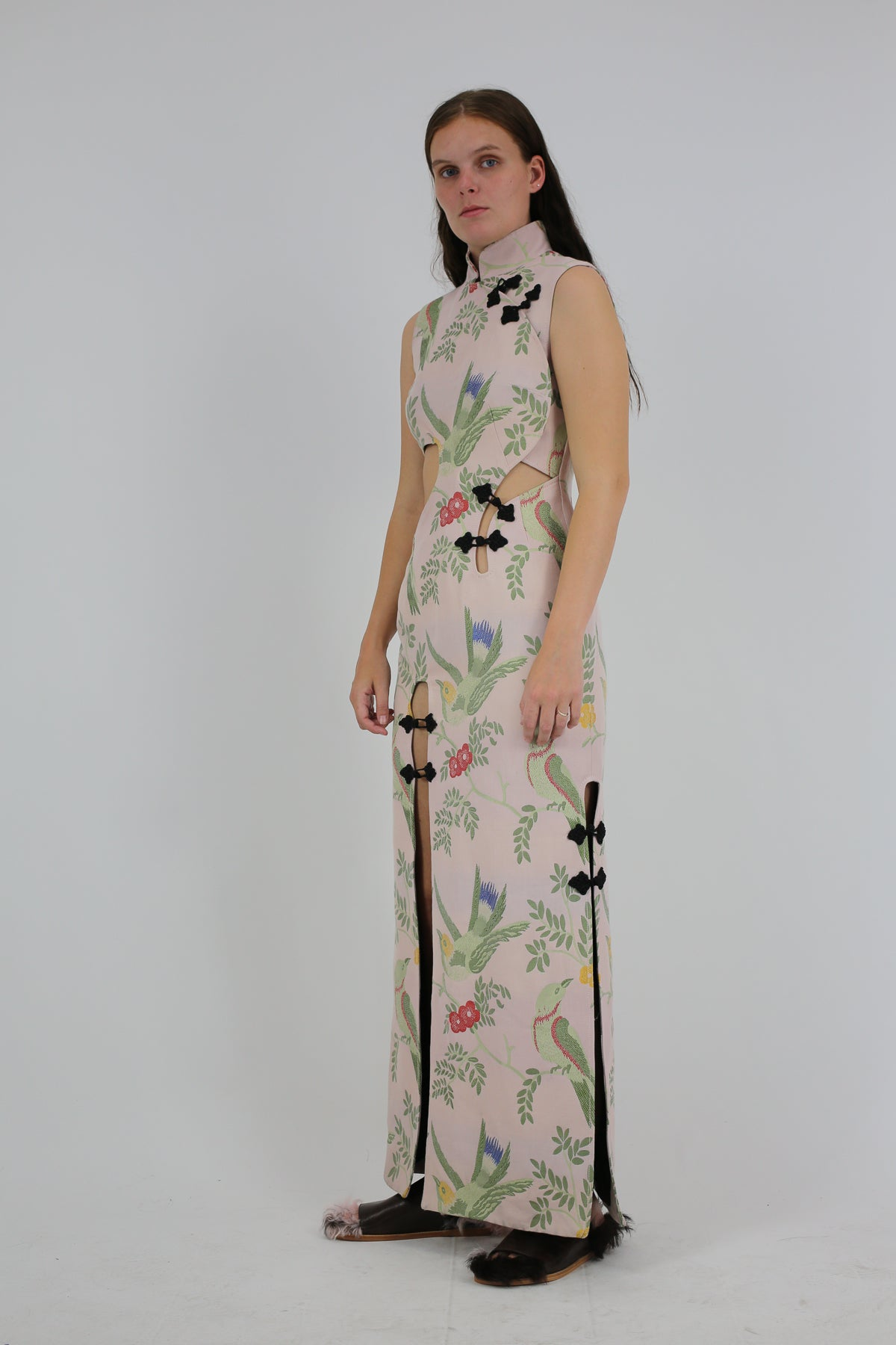 PRE-OWNED / MANDARIN WRAP CUT OUT DRESS IN BIRD PINK BROCADE