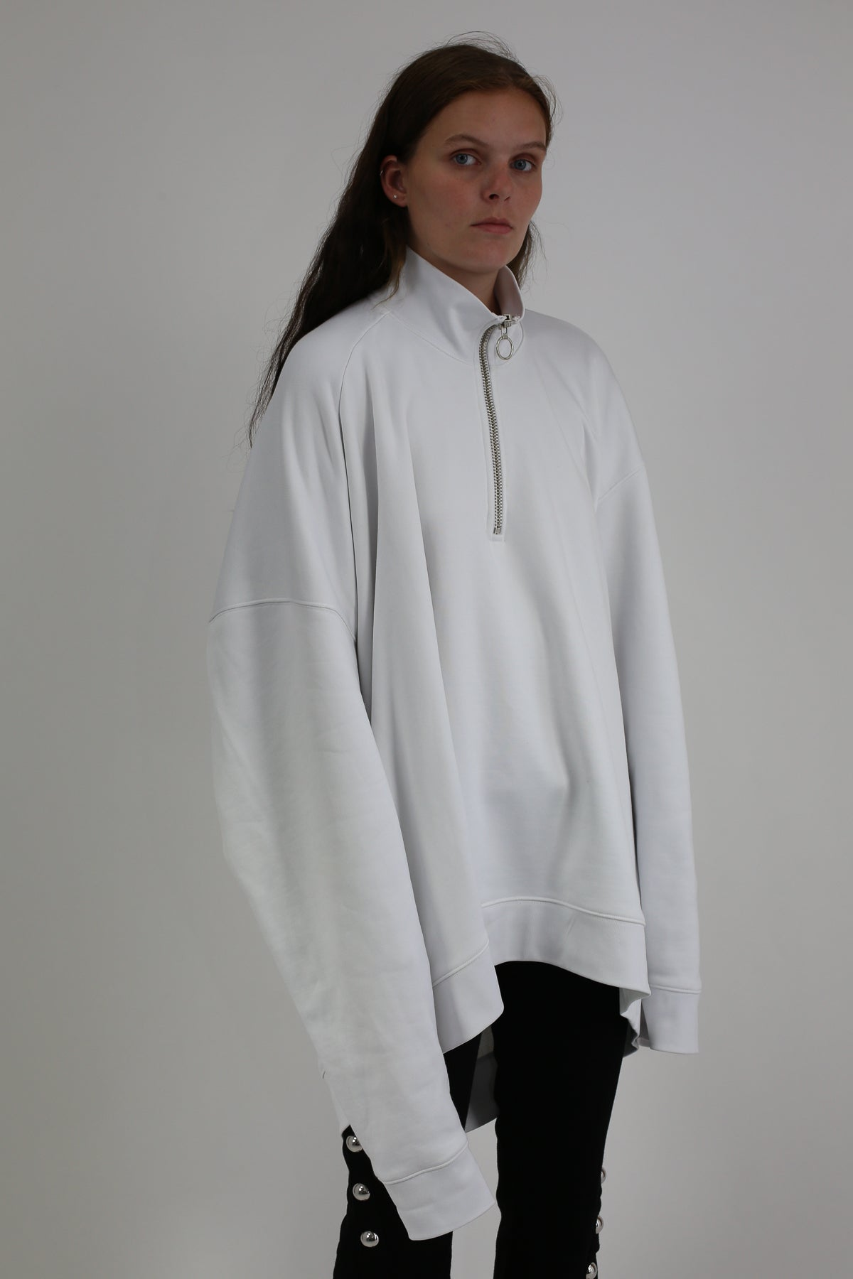 WHITE FLEECE DRAPED HIGH NECK JUMPER WITH ZIP
