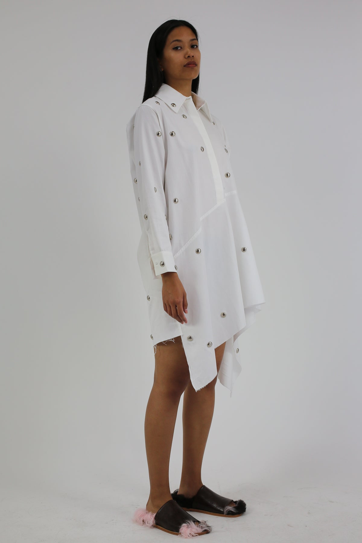 PRE-OWNED / WHITE STUDDED ASYMMETRIC SHIRT DRESS