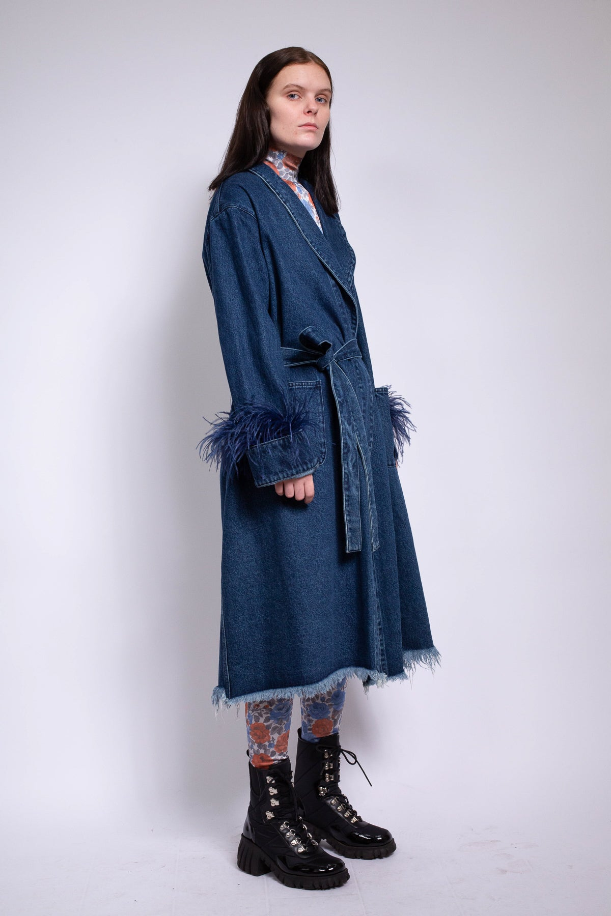 DRESSING GOWN STYLE COAT IN BLUE DENIM