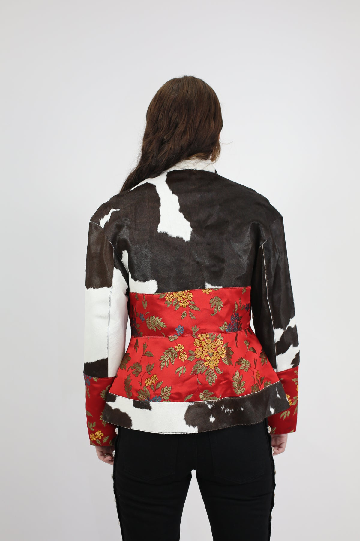 PRE-OWNED / PATCHWORK CORSET BIKER IN CALF HAIR AND BROCADE
