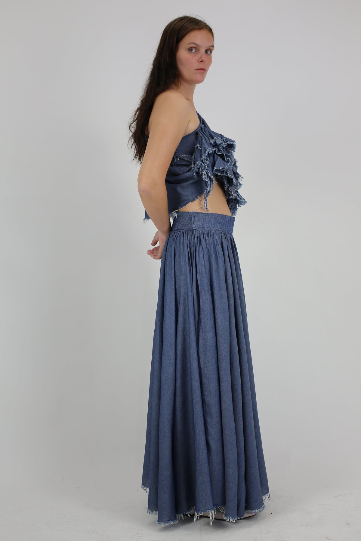 PRE-OWNED / BLUE LONG LIGHTWEIGHT SKIRT