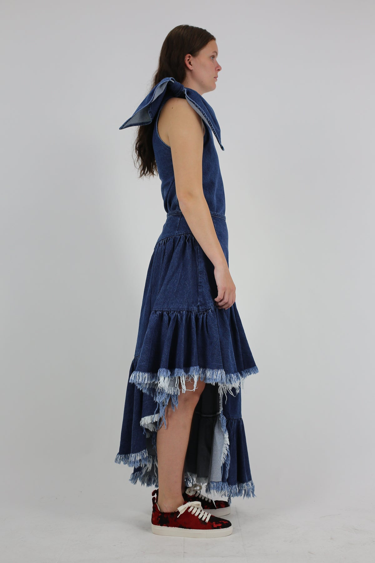 PRE-OWNED / BLUE ASYMMETRIC FRILL SKIRT