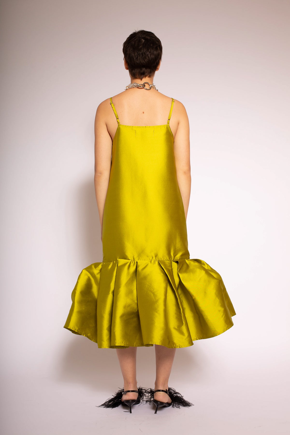 LIME PUFF HEM SLIP DRESS