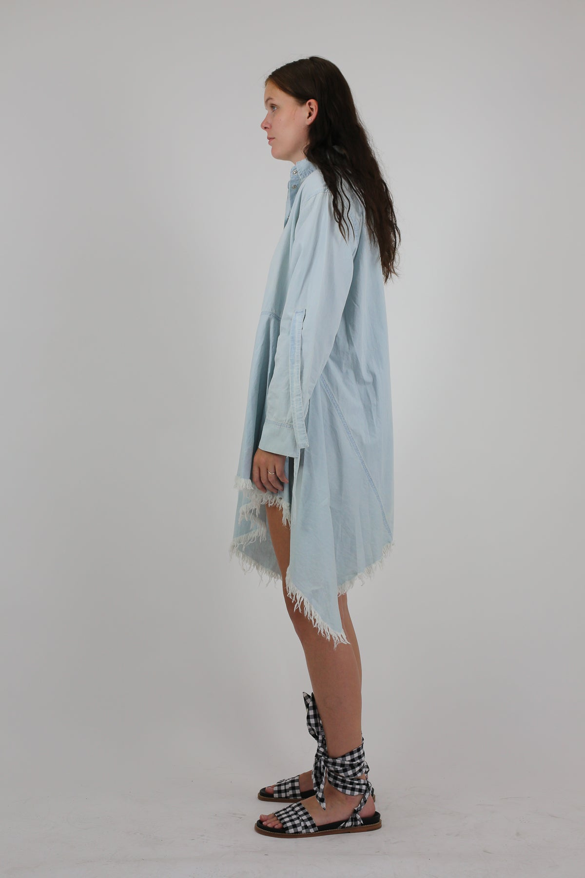 PRE-OWNED / BABY BLUE SHIRT DRESS WITH BACK TIES