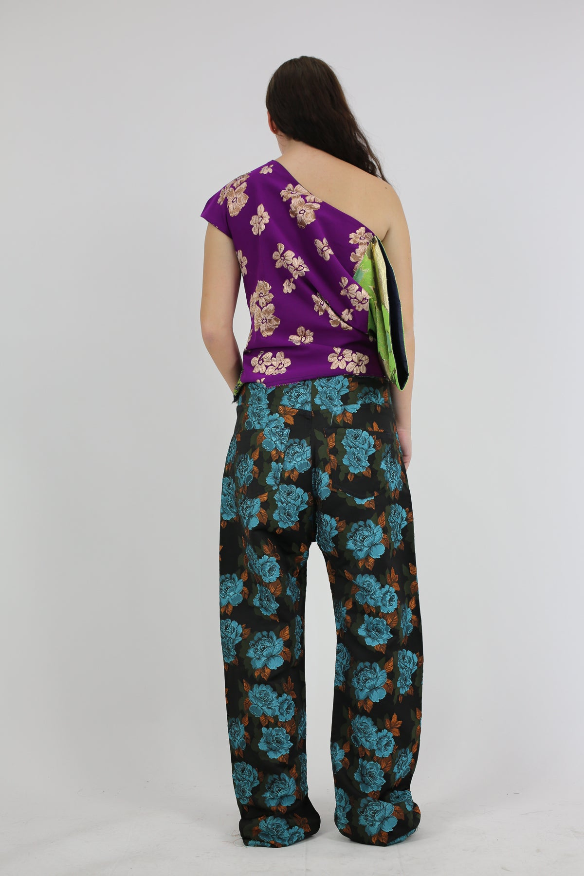 BROCADE BOYFRIEND TROUSERS IN BLACK AND BLUE - marques-almeida-dev