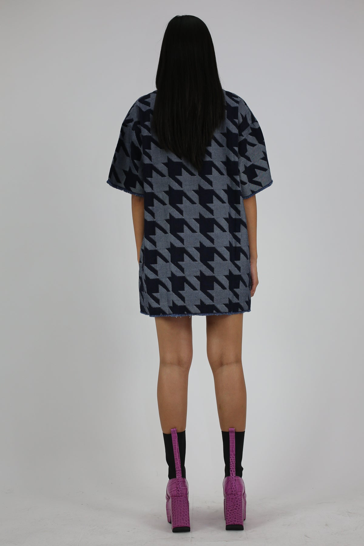PRE-OWNED / DENIM HOUNDSTOOTH T-SHIRT DRESS
