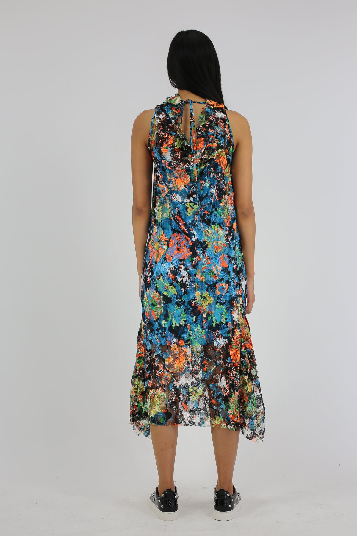 PRE-OWNED / MULTICOLOR SLEEVELESS LACE DRESS WITH SIDE FRILL