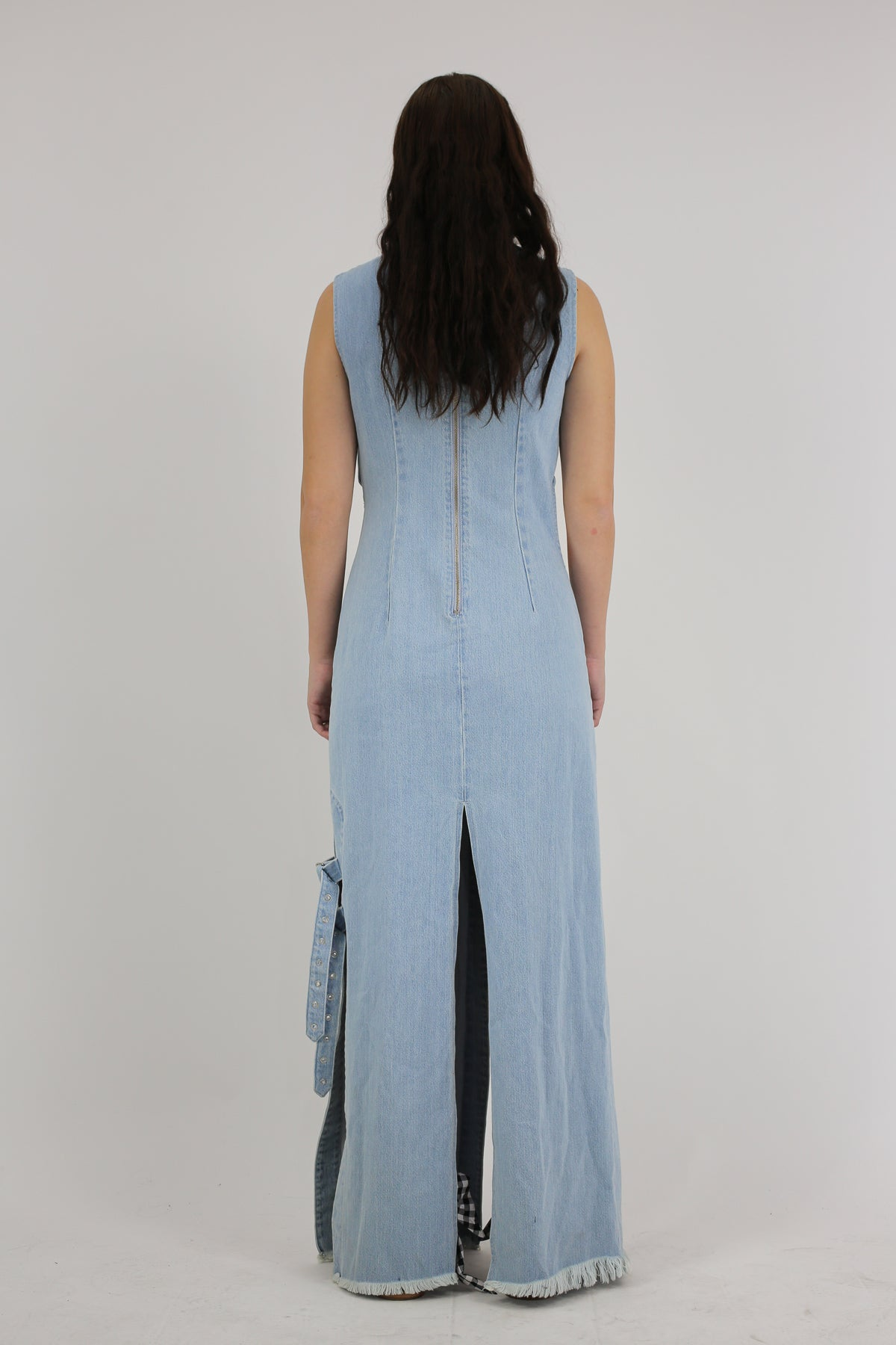 PRE-OWNED / MANDARIN WRAP CUT OUT DRESS IN DENIM