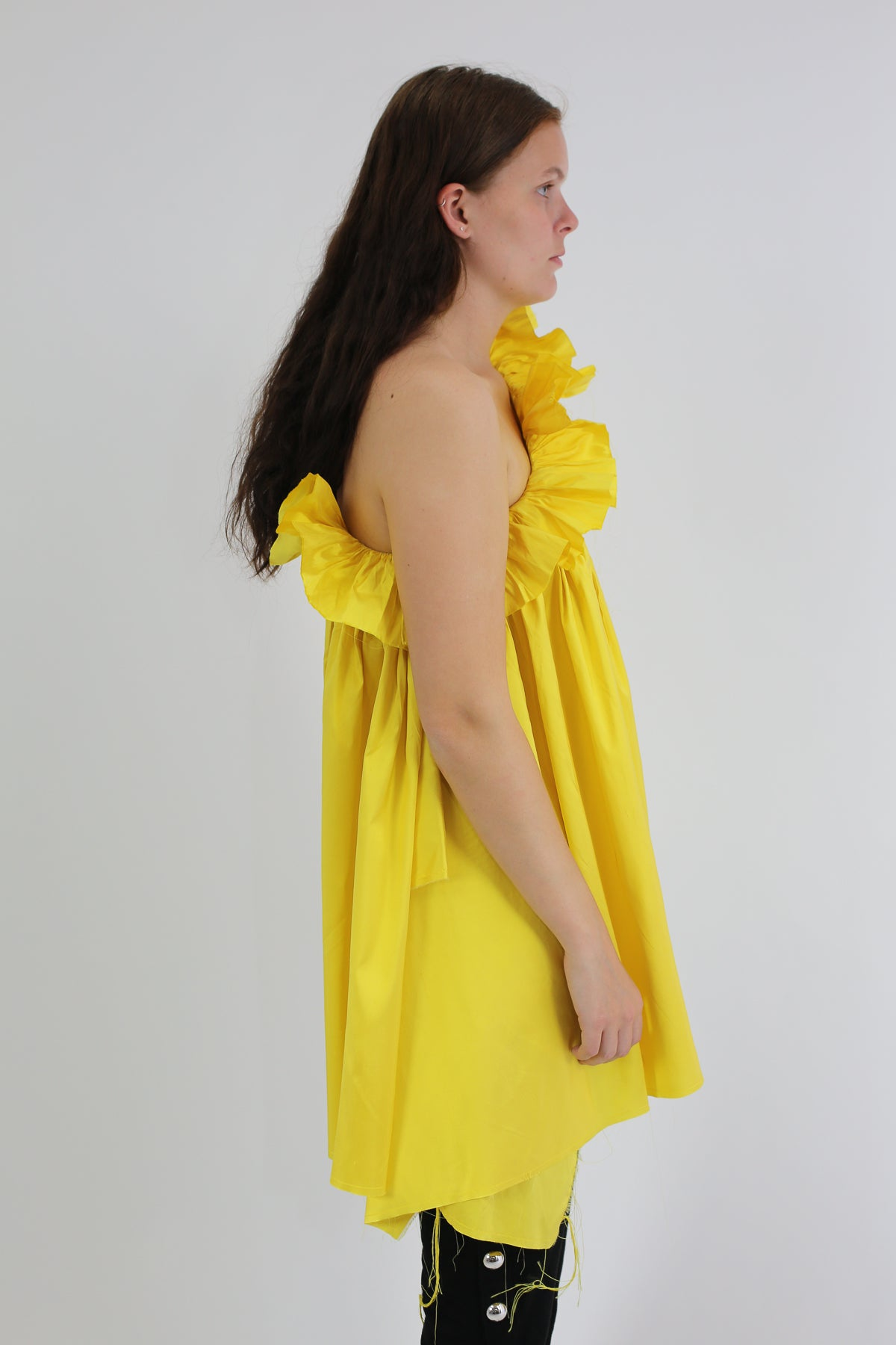 PRE-OWNED / SILK ONE SHOULDER YELLOW TUNIC
