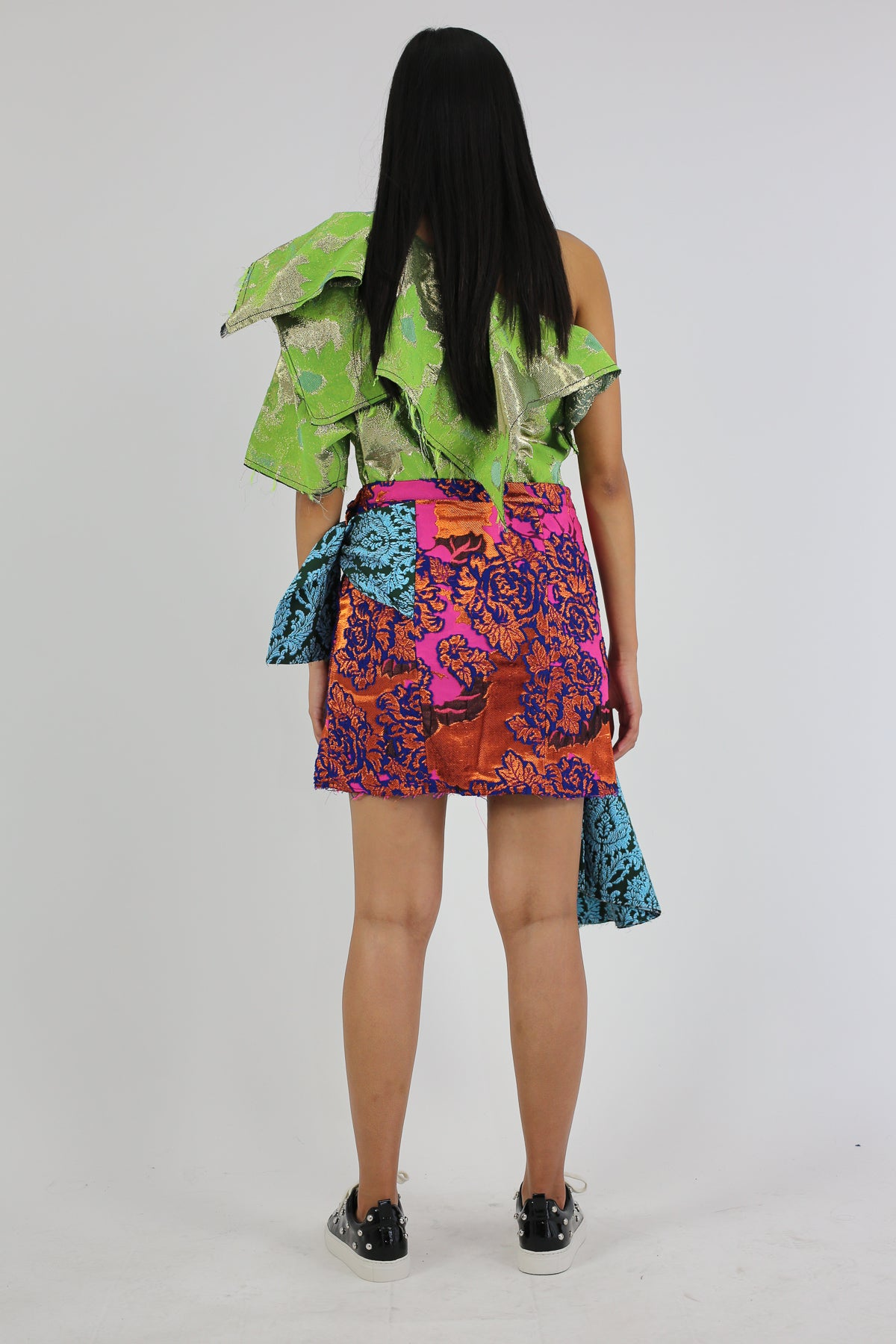 PRE-OWNED / DRAPED PATCHWORK BROCADE SKIRT