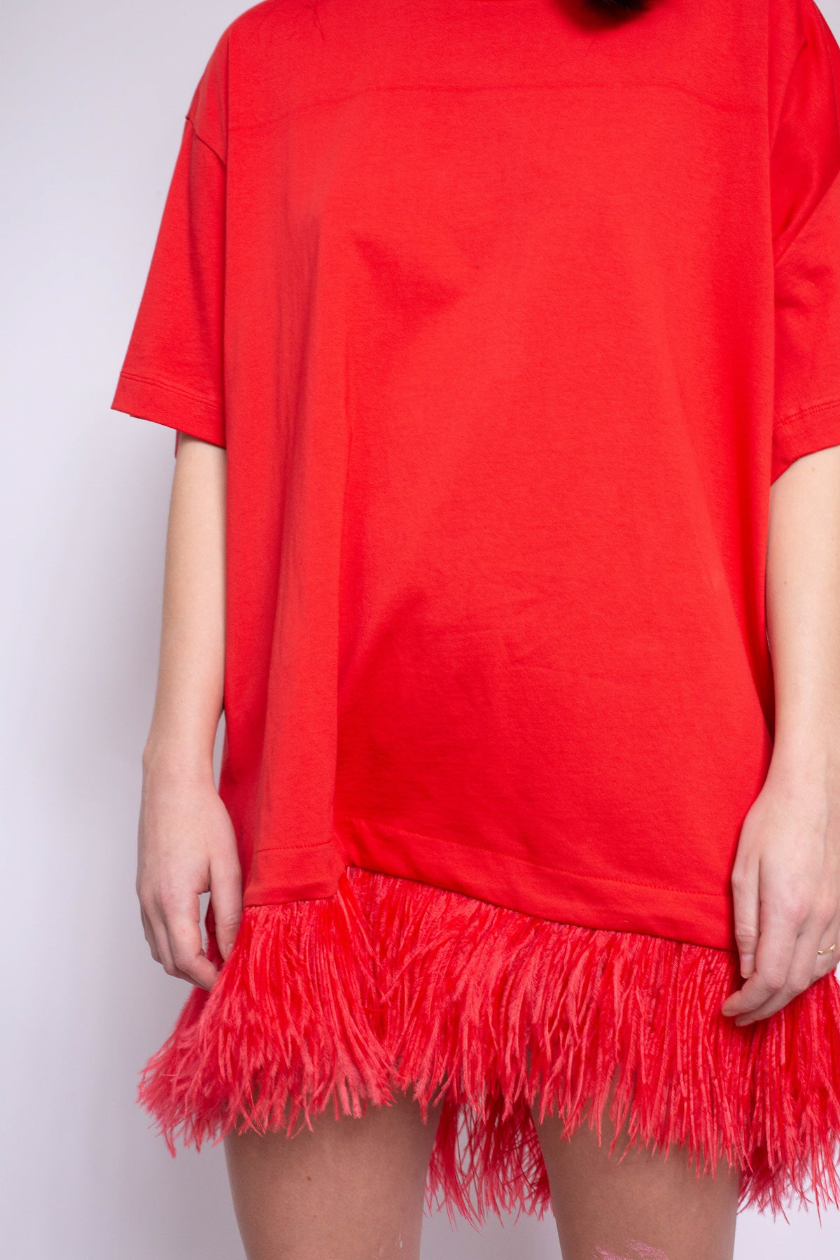 FEATHER HEM TOP IN RED - marques-almeida-dev