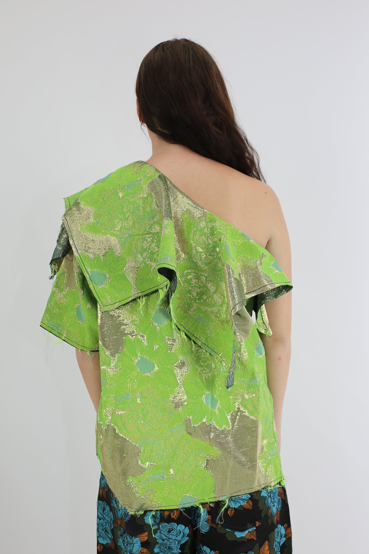 PRE-OWNED / OFF SHOULDER GREEN BROCADE TOP - marques-almeida-dev
