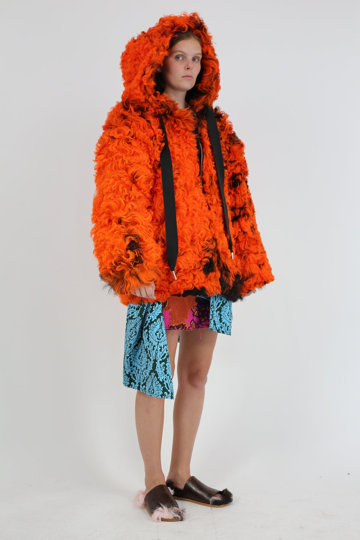 PRE-OWNED / ORANGE SHEARLING HOODED JACKET - marques-almeida-dev