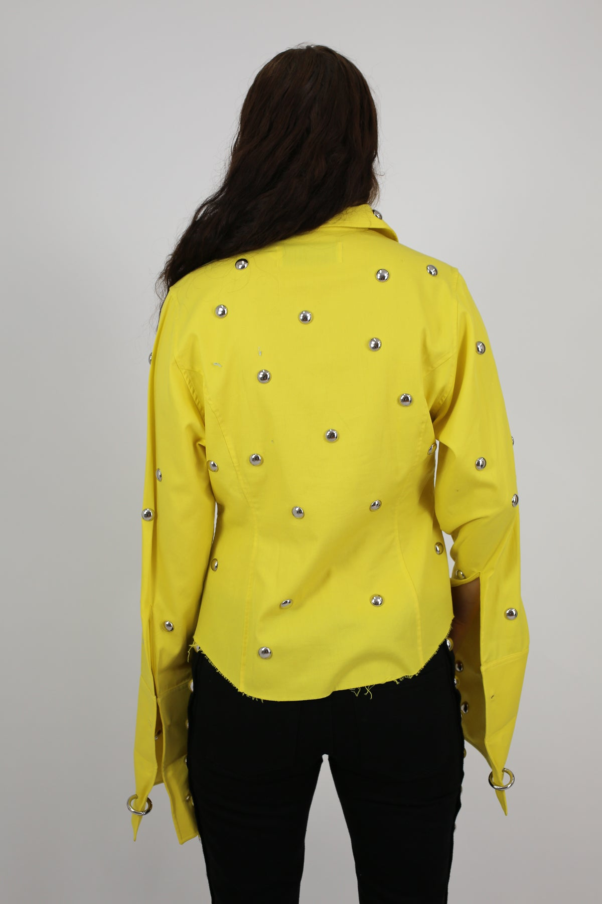 PRE-OWNED / YELLOW STUDDED FITTED SHIRT
