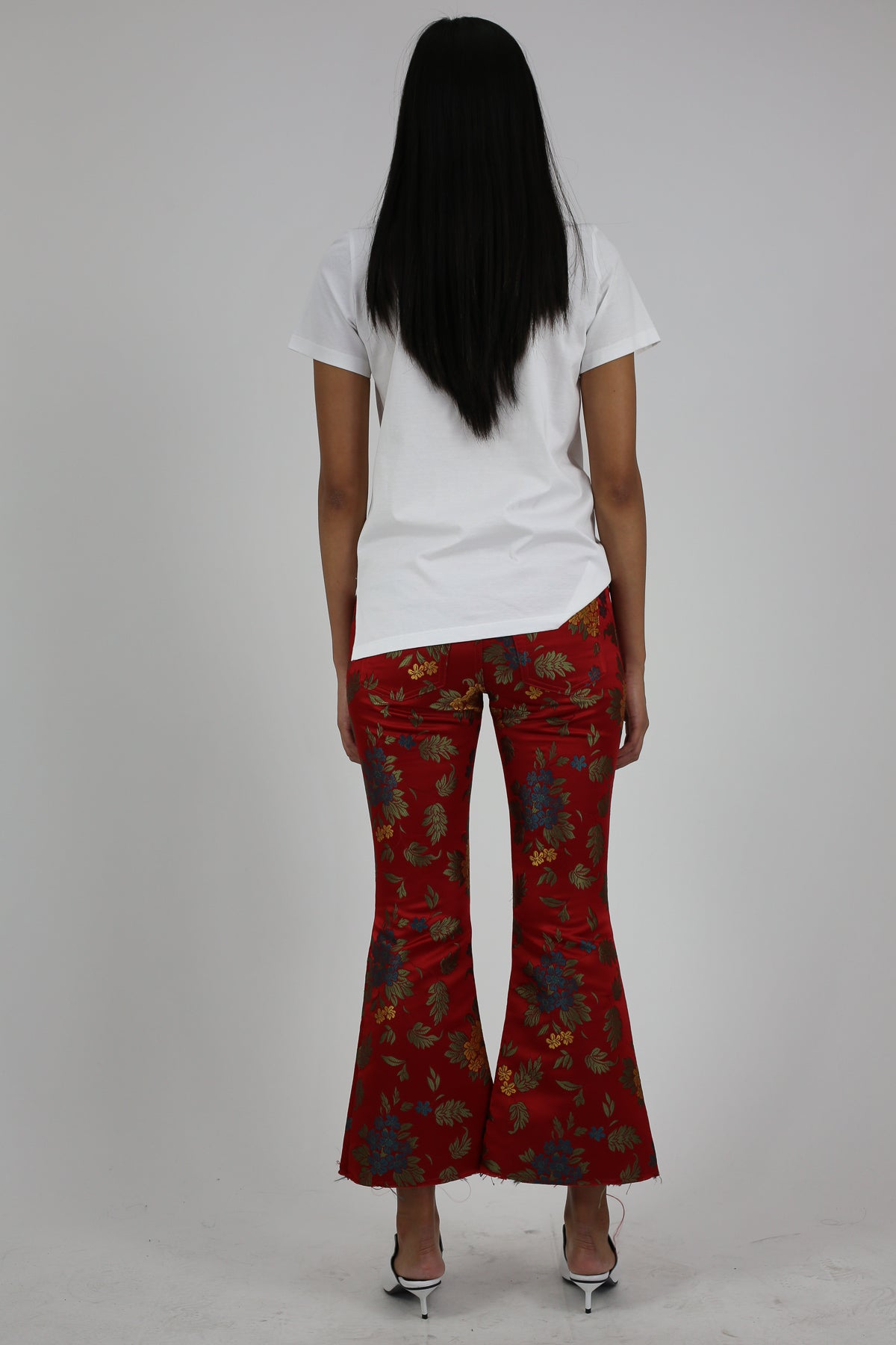 PRE-OWNED / RED BROCADE CLASSIC FLARED CAPRIS - marques-almeida-dev