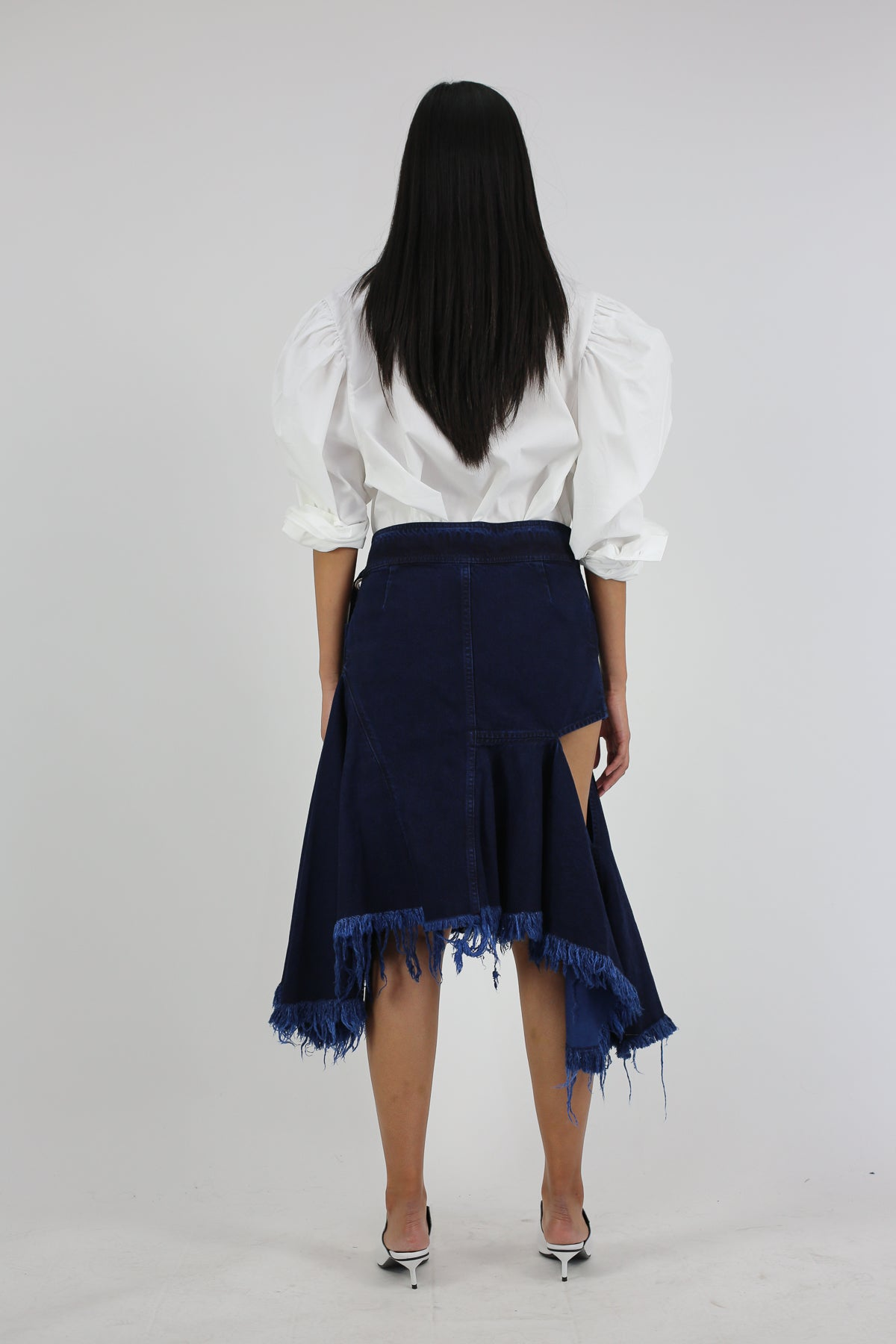 PRE-OWNED / INDIGO DENIM WRAP SKIRT